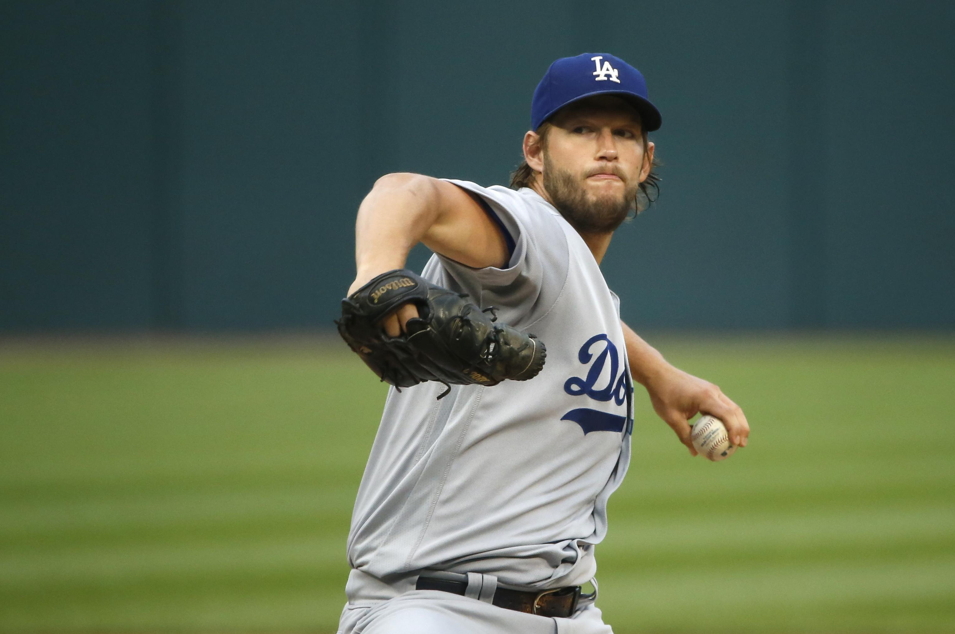 165a92635 Los Angeles Dodgers starting pitcher Clayton Kershaw winds up during the  first inning of the team s