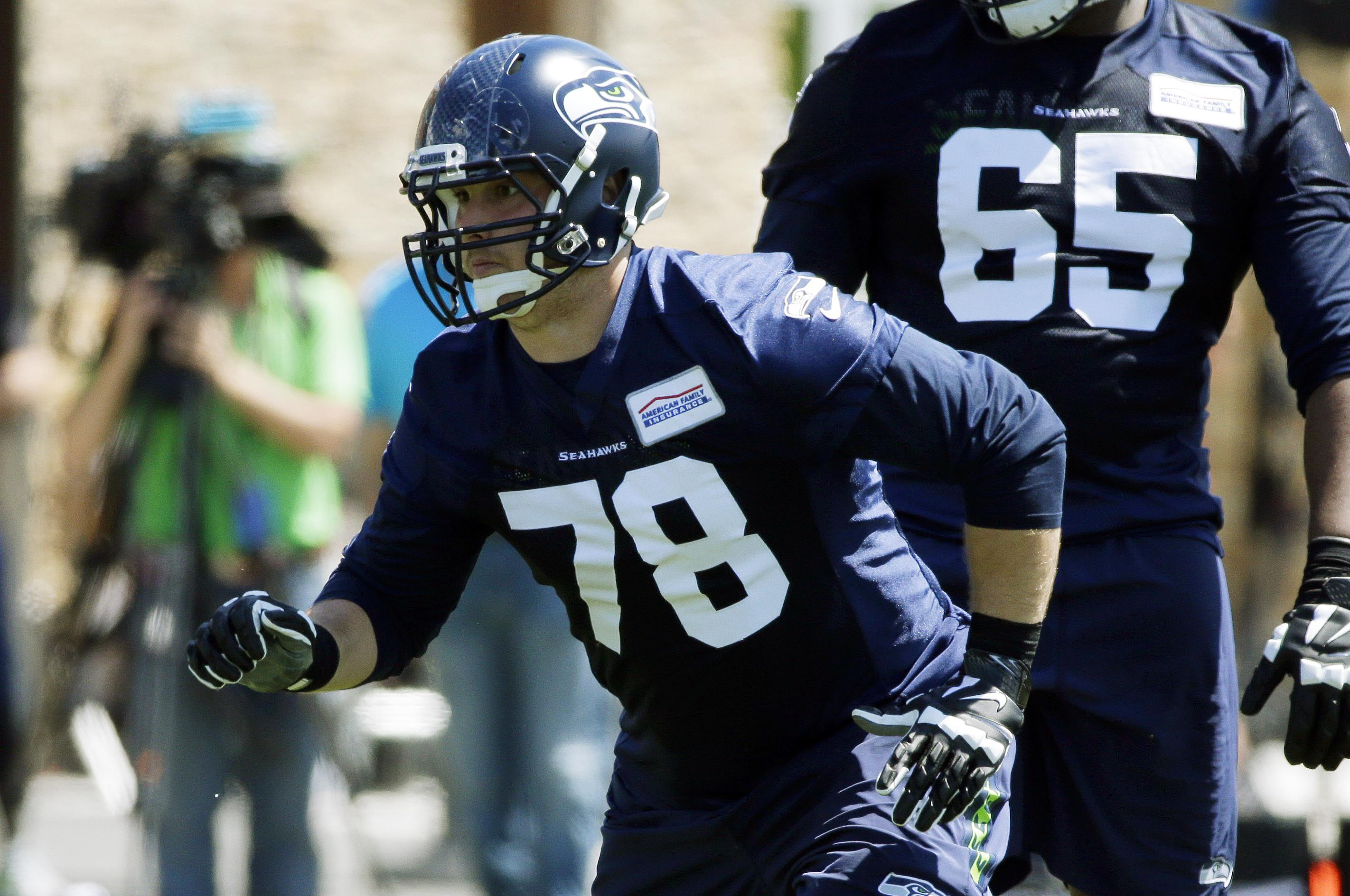 a691531b0 Seattle Seahawks' Luke Joeckel (78) moves during a drill at NFL football  practice