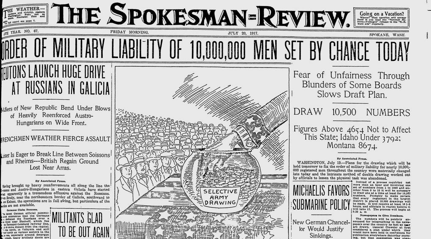 100 years ago in Spokane: Newspapers rush publication of draft