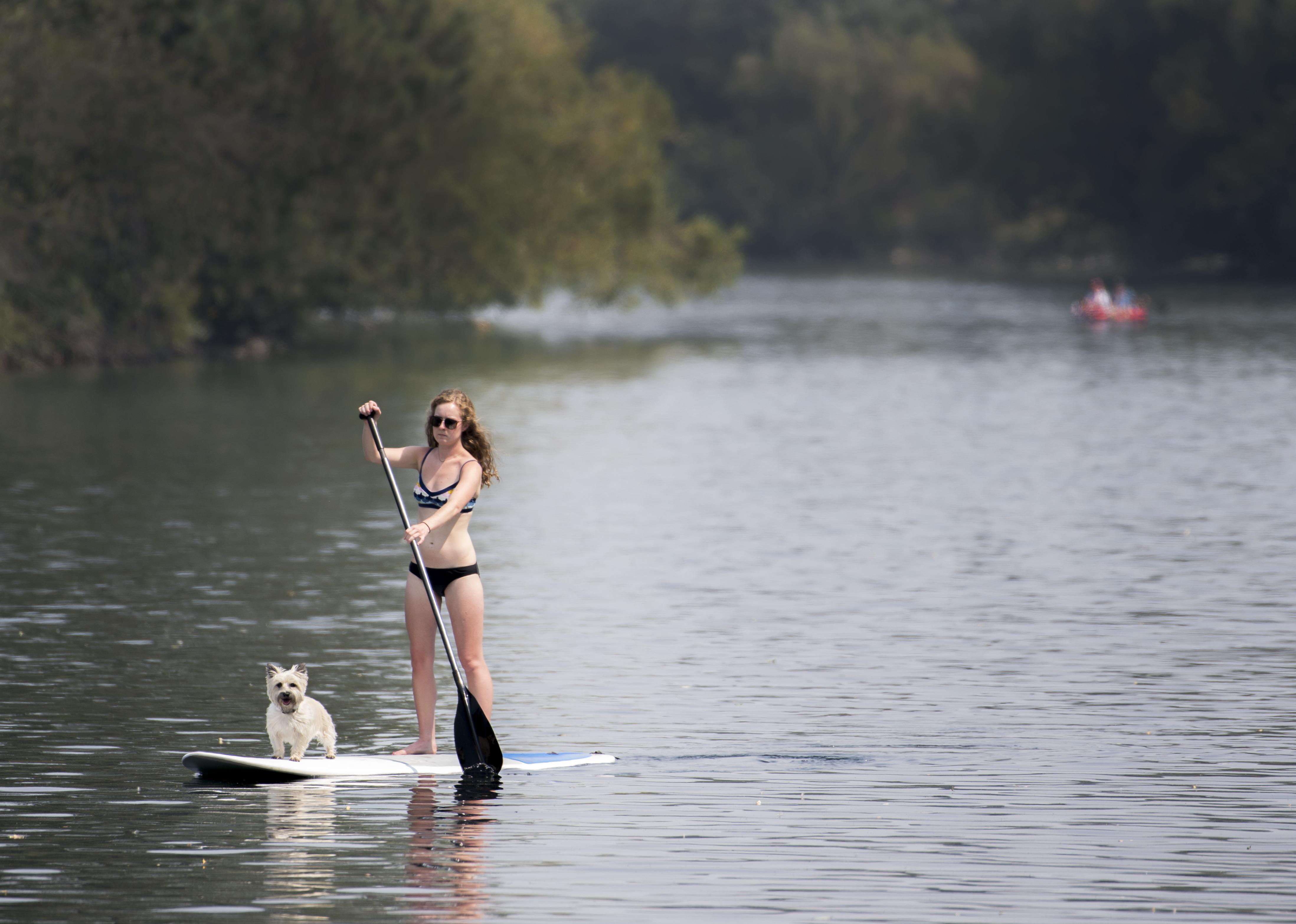Sarah gotzian paddles a stand up paddleboard down the spokane river near argonne road with