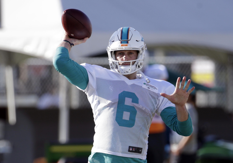 e841abebd Miami Dolphins quarterback Jay Cutler (6) throws a pass during an NFL  football training