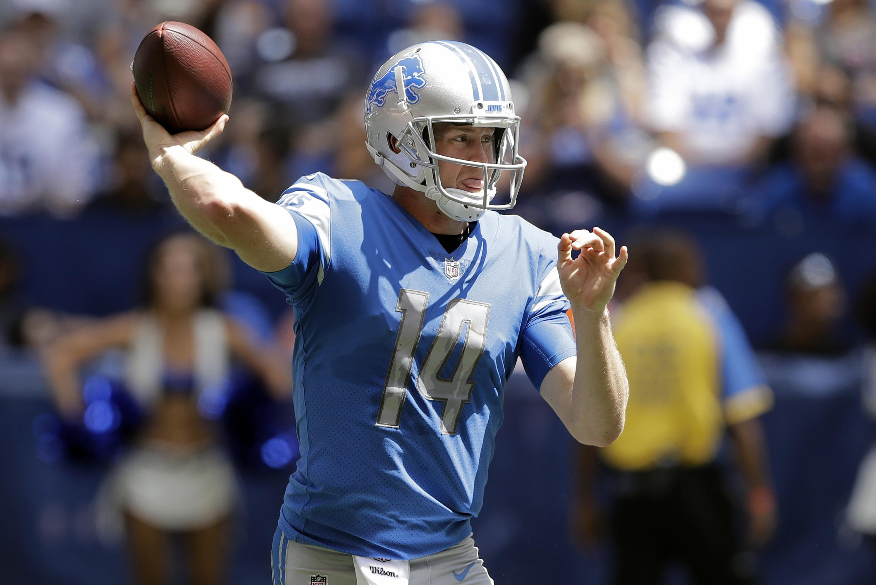 a8bd8ea9c Detroit Lions quarterback Jake Rudock passes against the Indianapolis Colts  during the second half of an