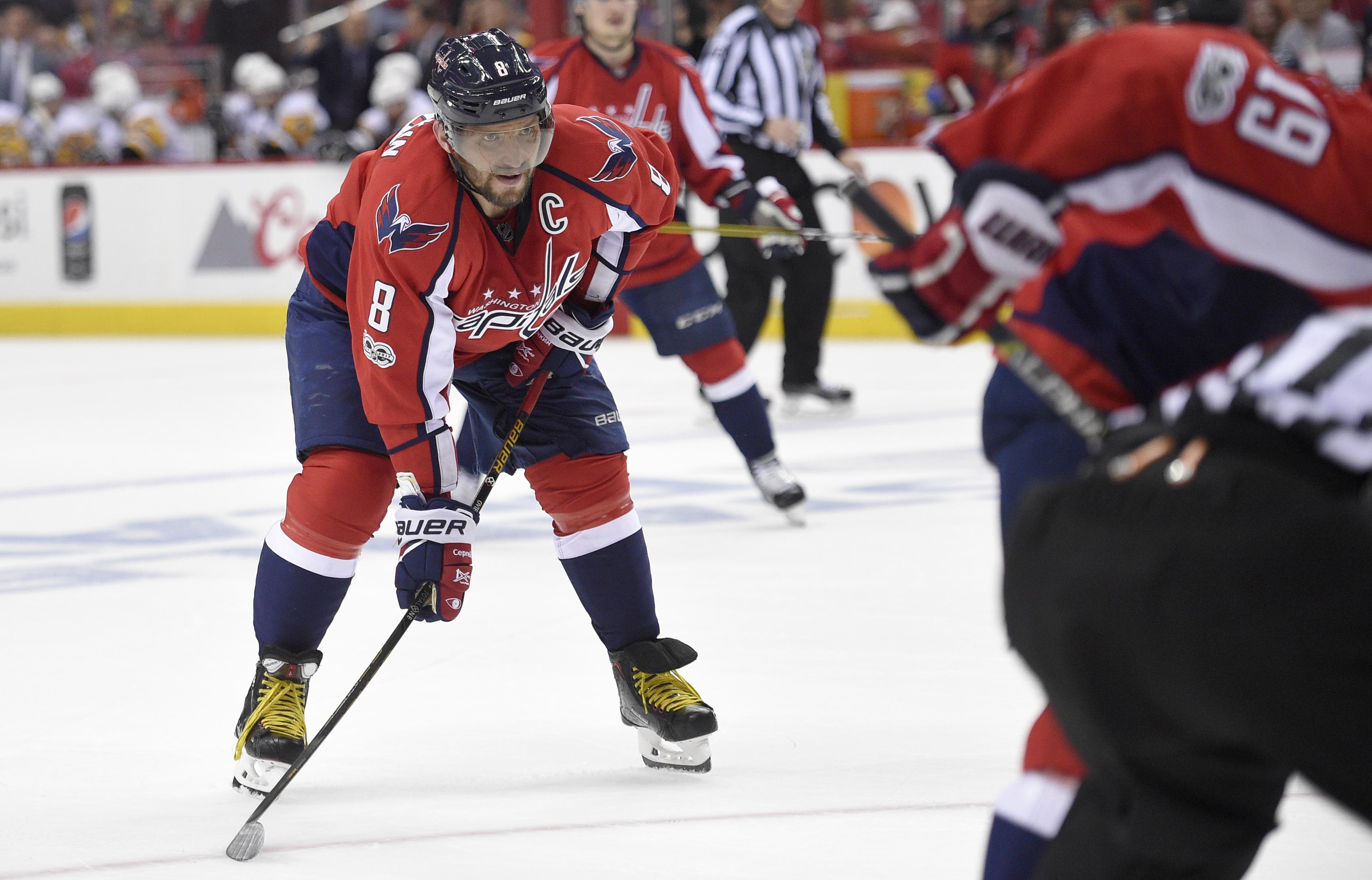de59286e2 In this photo taken April 29, 2017, Washington Capitals left wing Alex  Ovechkin looks