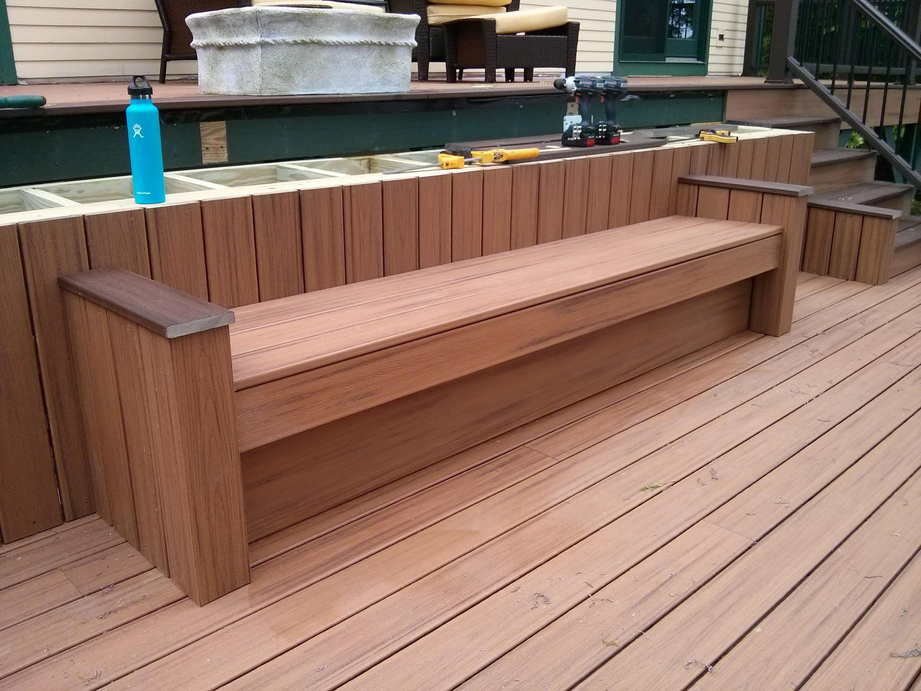 This Deck Bench Seat Is Complete The Shelf Above Needs To Be Covered But
