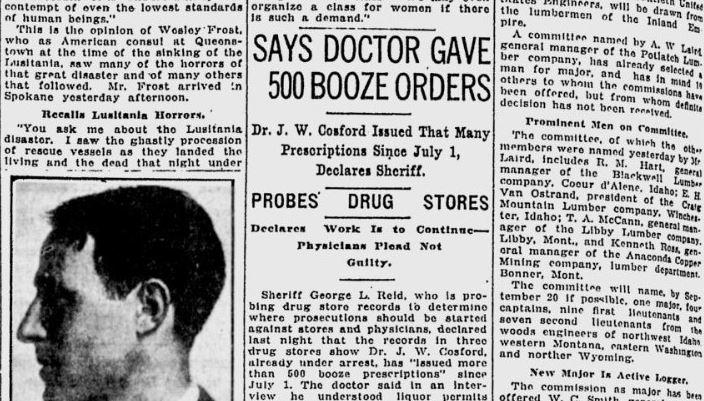 100 years ago in Spokane: Wife disputes doctor's claim that
