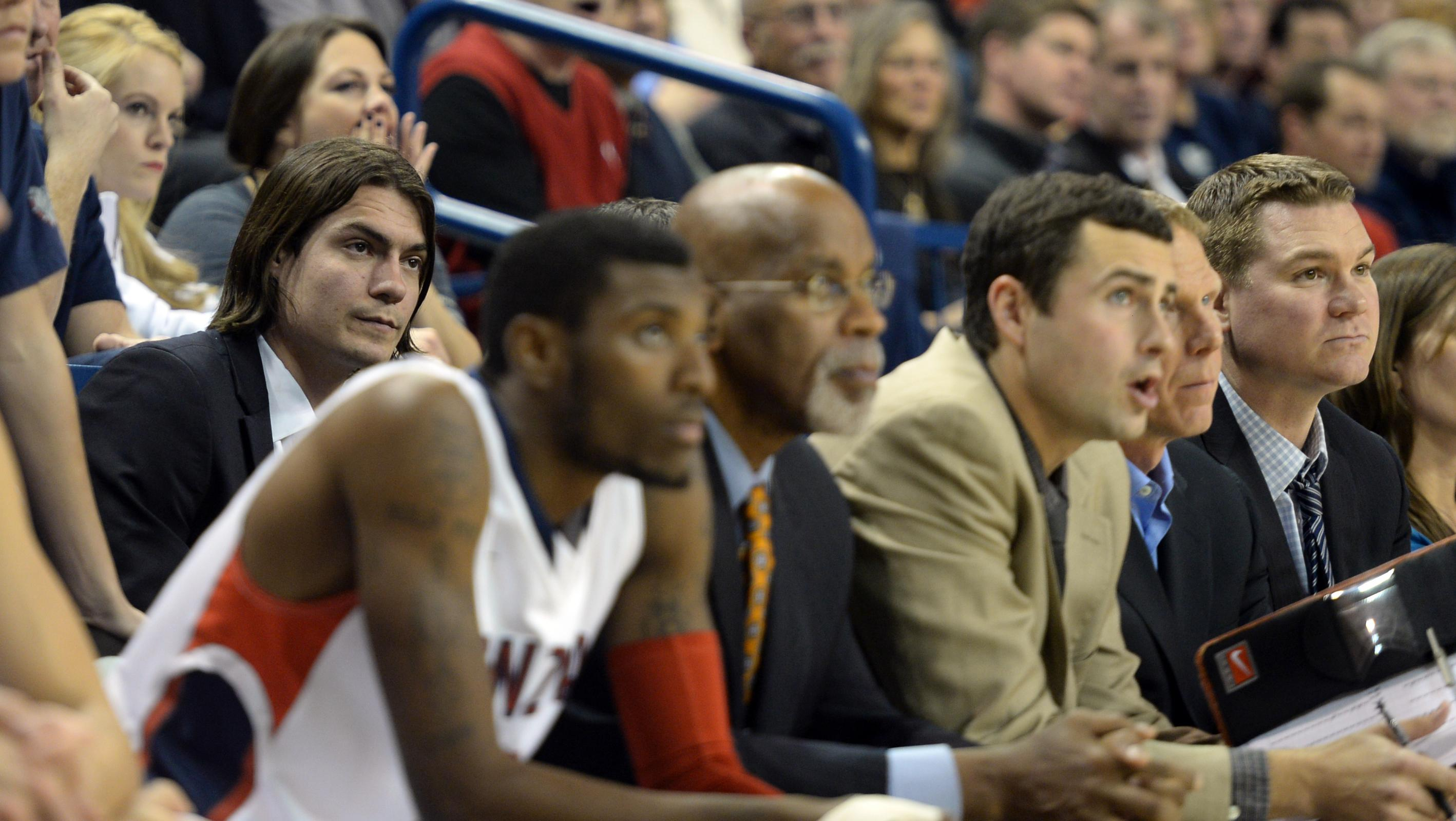 e7bbf9ed72c Former GU star Adam Morrison takes a second-row seat as a student assistant  during