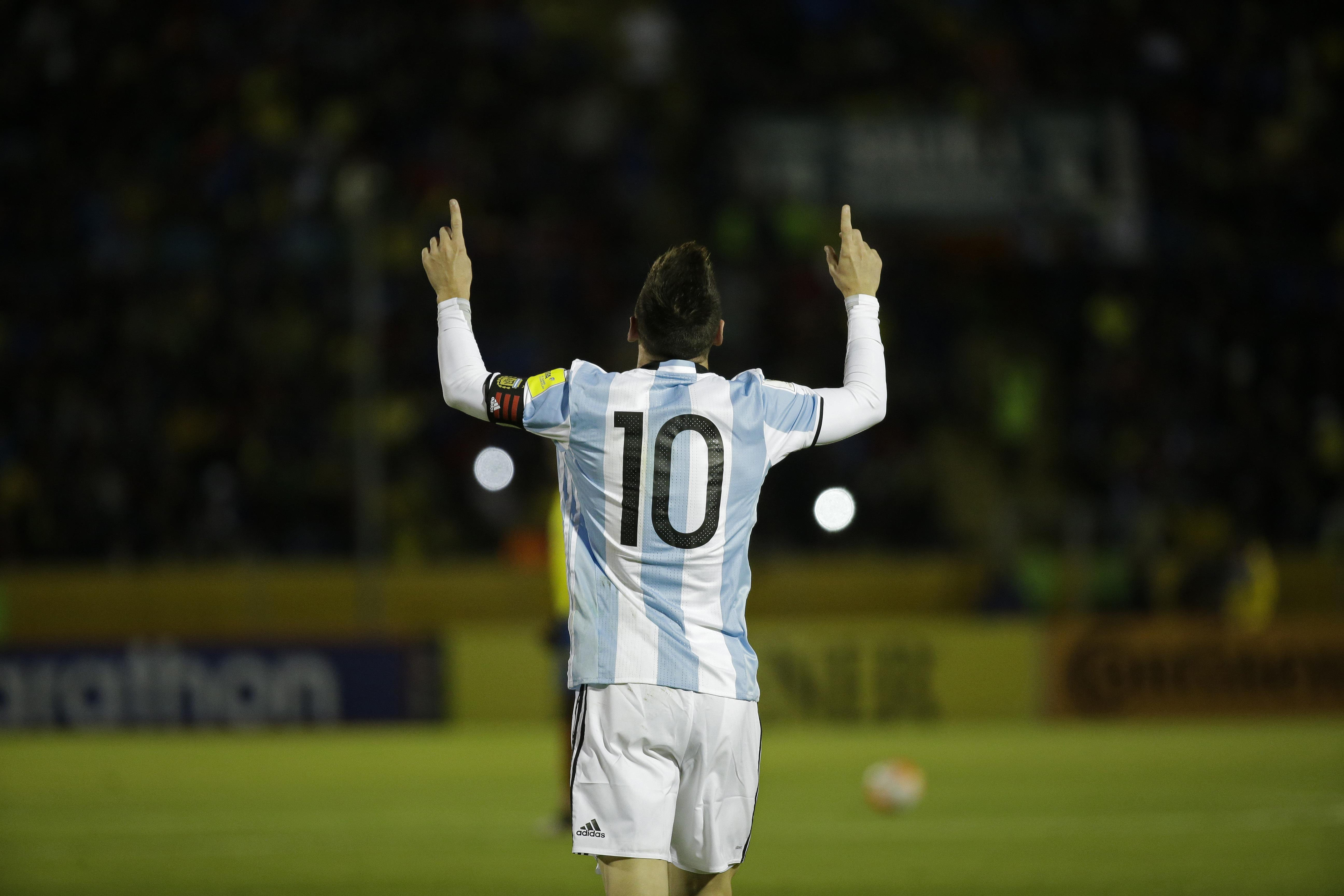 Argentina s Lionel Messi celebrates after scoring against Ecuador during  their 2018 World Cup qualifying soccer match a9a4b351e