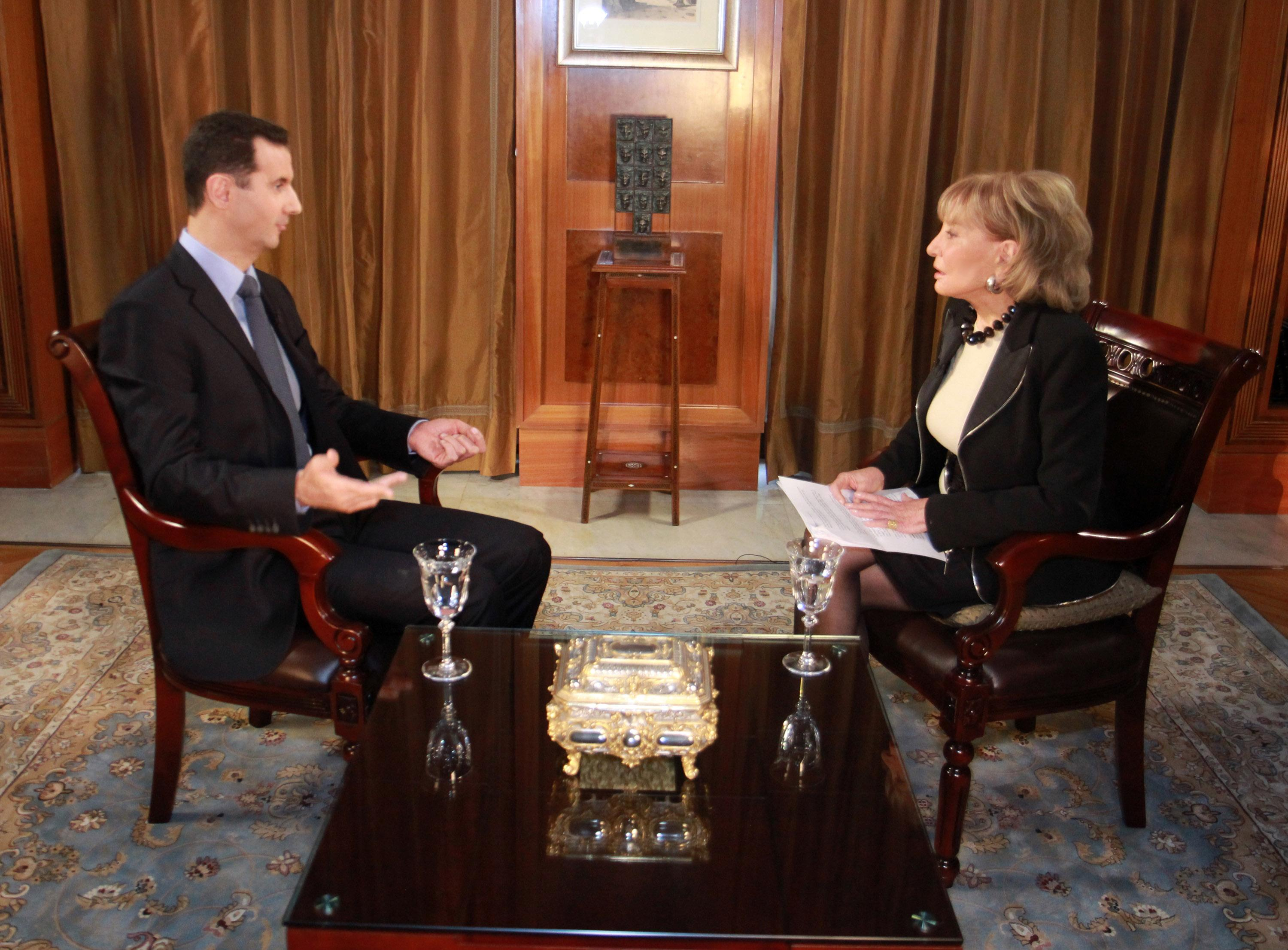 Russia Vetoes Un Resolution To Continue Syria Chemical Weapons Meccanism Long Syiria In This Undated Image Provided By Abc Syrian President Bashar Al Assad Speaks With