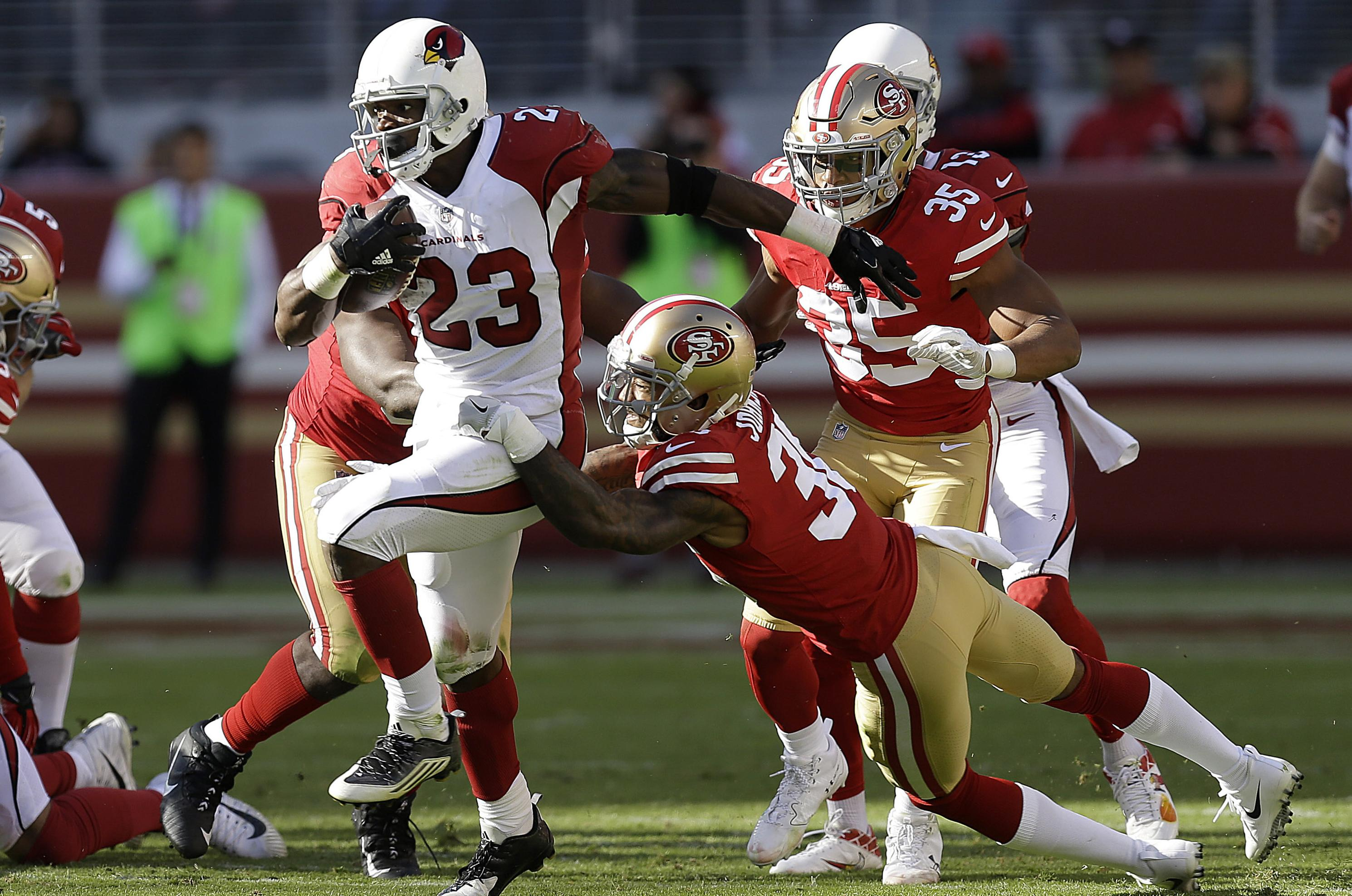 c1420ce5e Arizona Cardinals running back Adrian Peterson (23) runs against the San  Francisco 49ers during