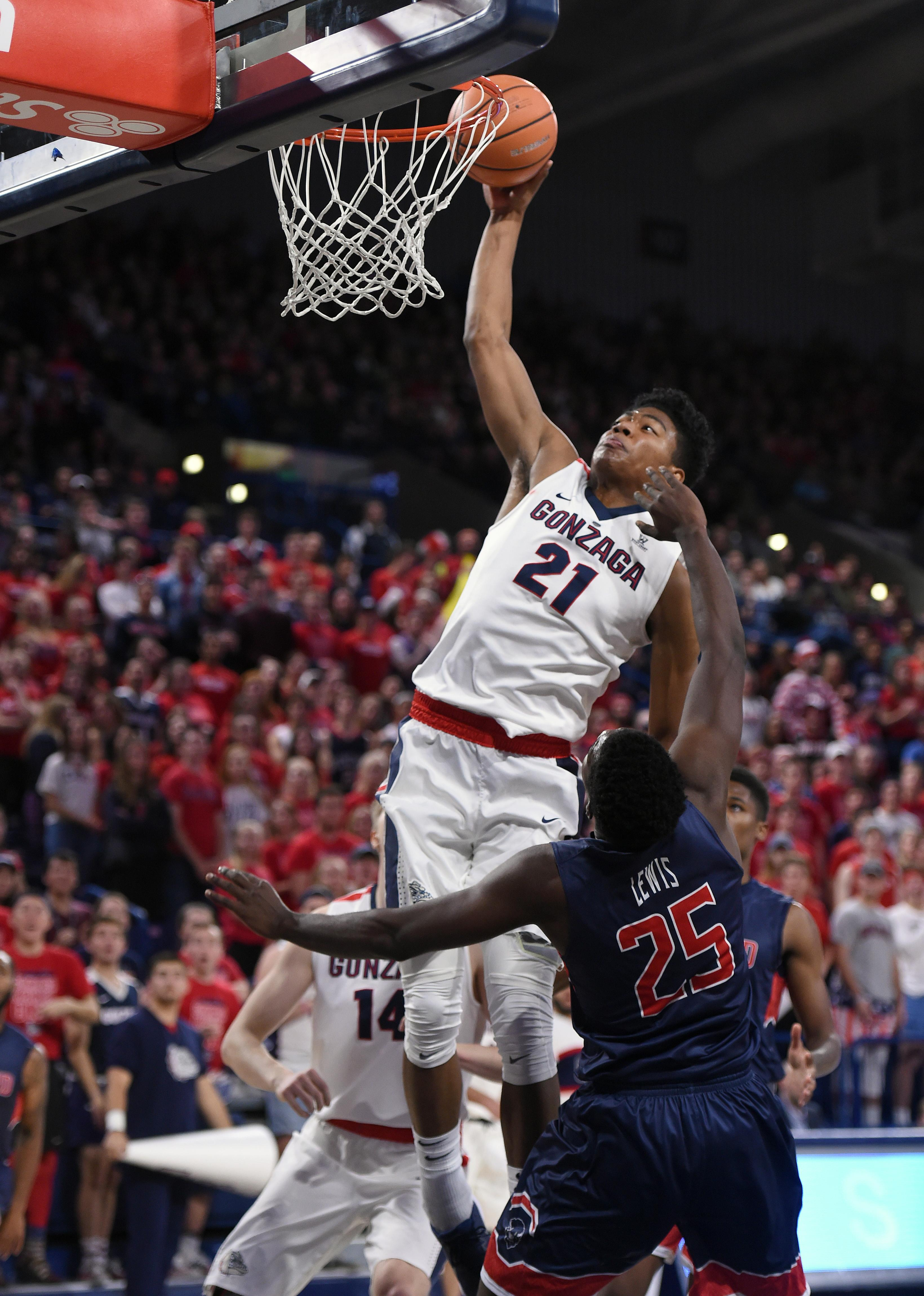 Gonzaga puts charge into crowd with five first-half dunks | The Spokesman-Review