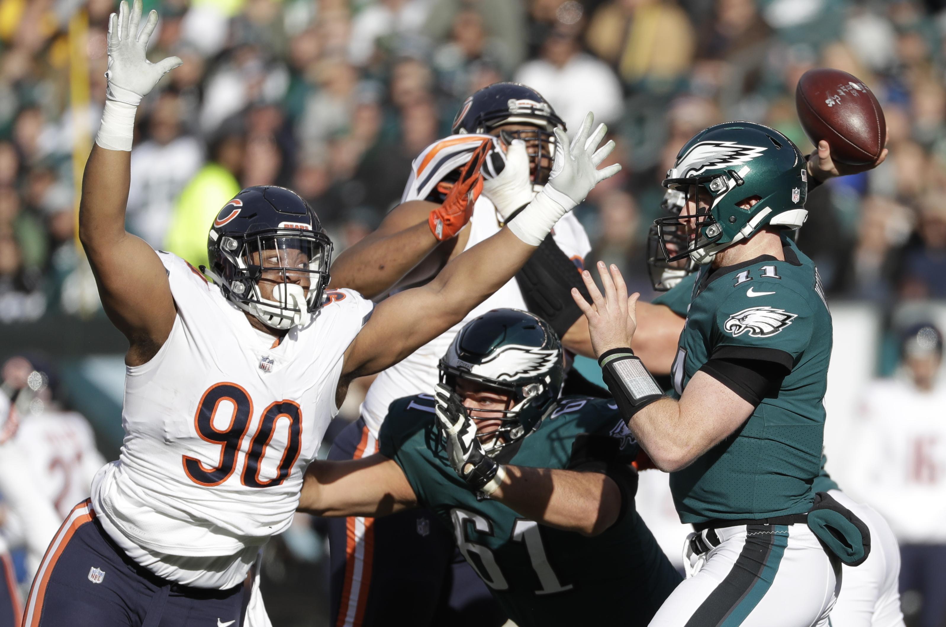 530bc5108 Philadelphia Eagles  Carson Wentz (11) passes against Chicago Bears   Jonathan Bullard (