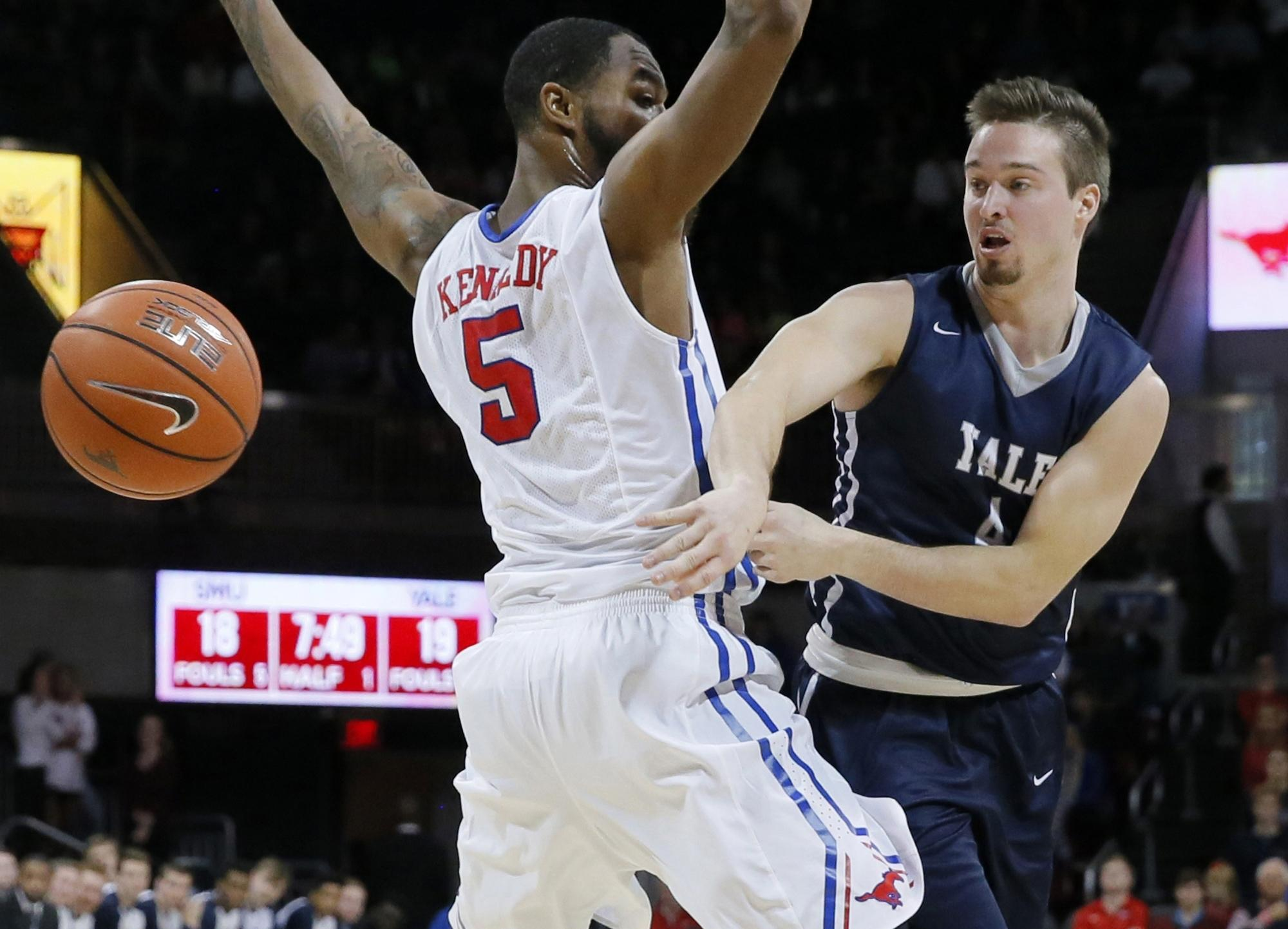 In this Nov. 22, 2015 file photo, Yale's Jack Montague, right,