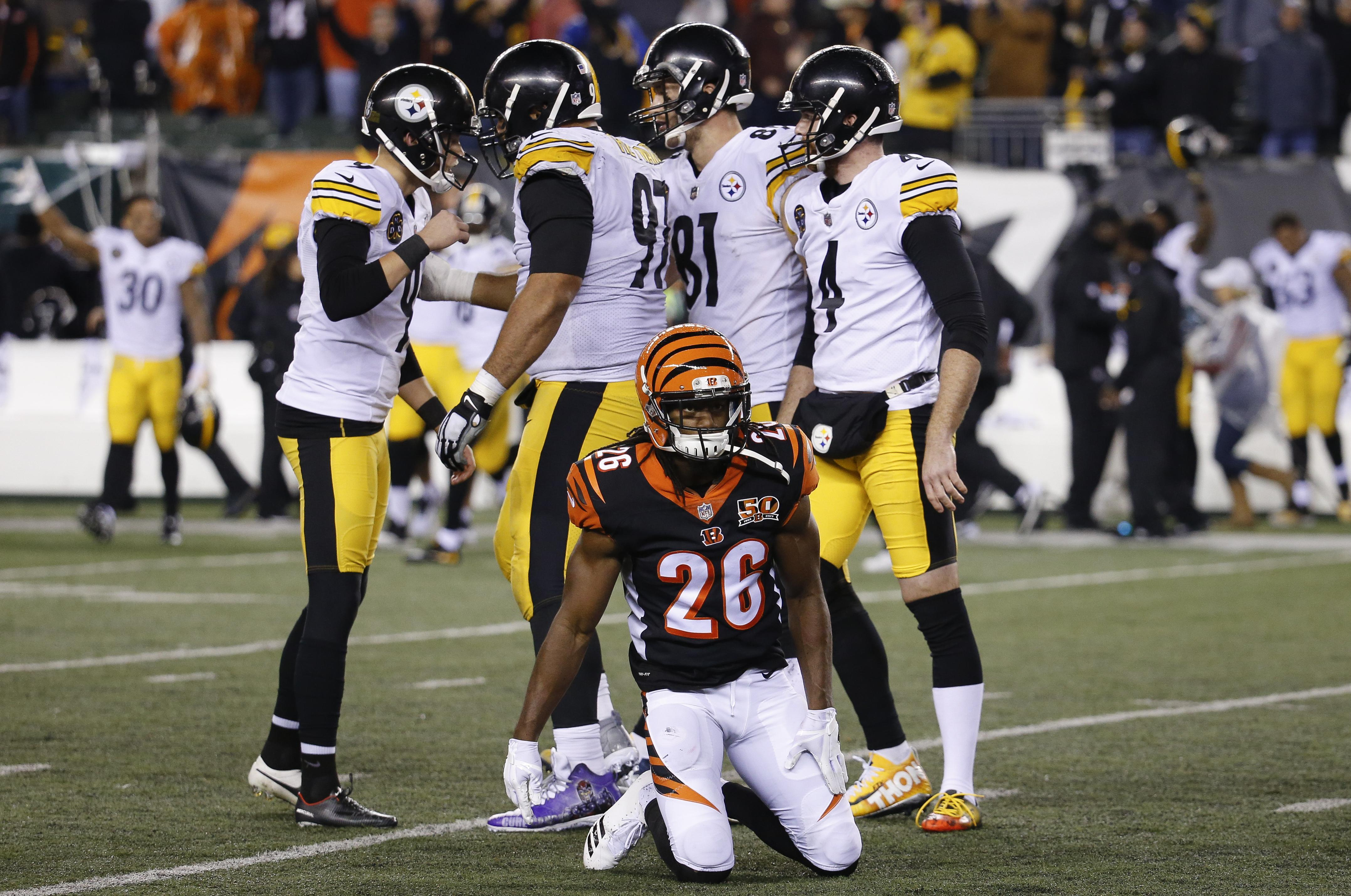 ecb028cc Pittsburgh Steelers kicker Chris Boswell, left, celebrates his game-winning  field goal alongside