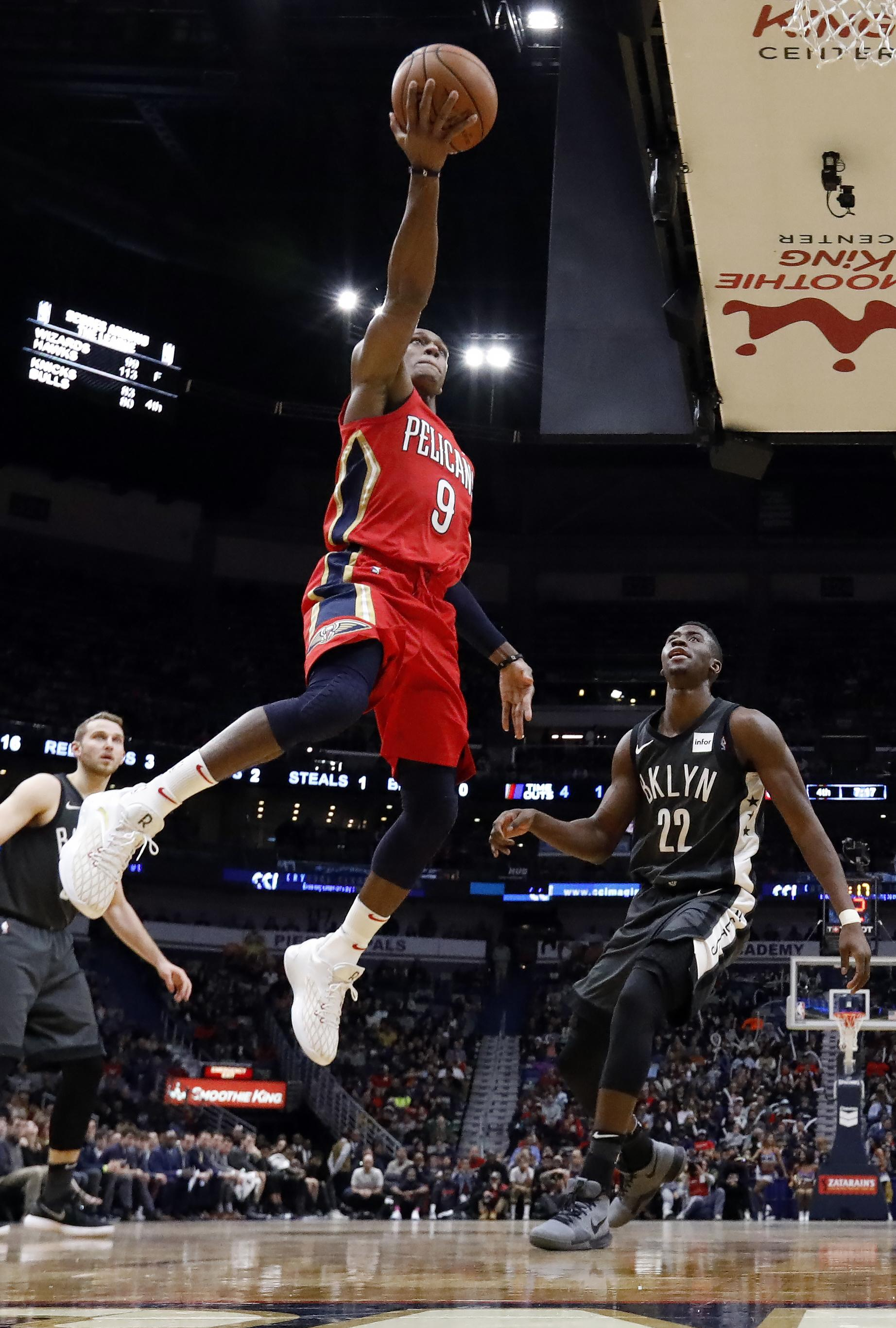 a529deeca New Orleans Pelicans guard Rajon Rondo (9) shoots over Brooklyn Nets guard  Caris LeVert