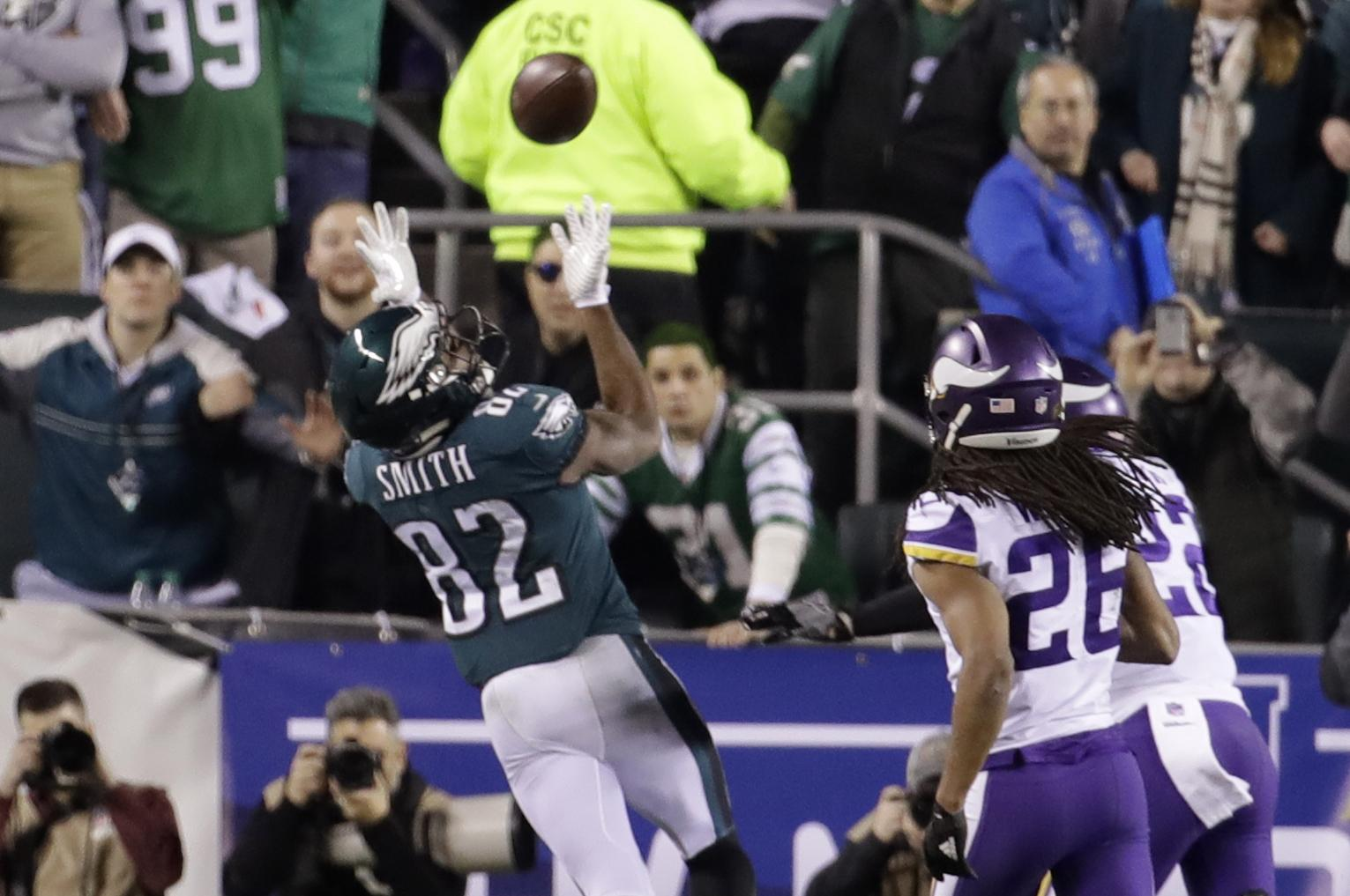 Philadelphia Eagles  Torrey Smith catches a touchdown pass during the  second half of the NFL 2e1b89b23