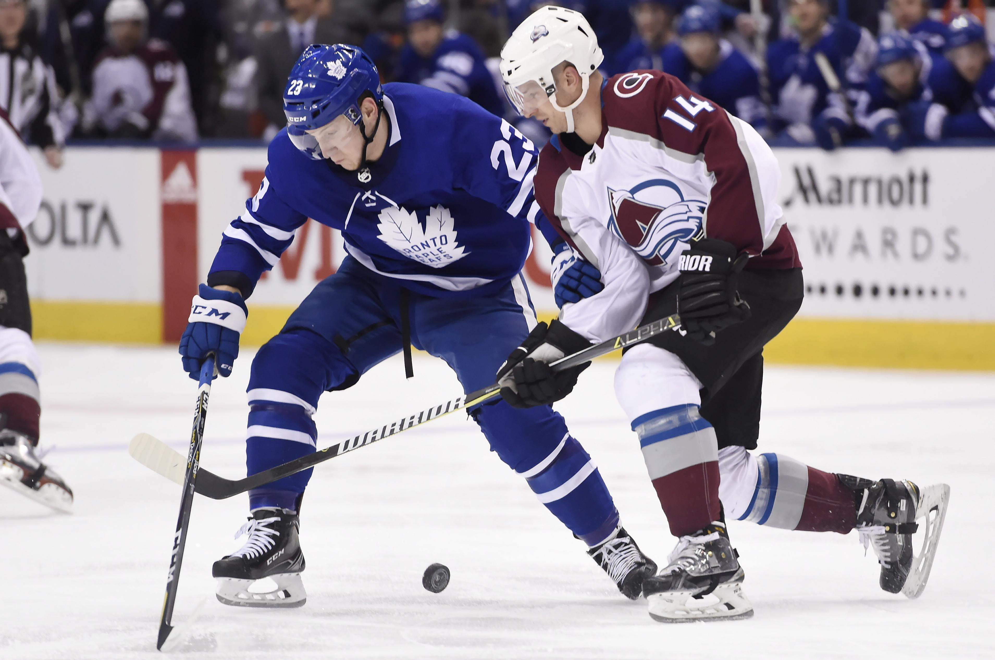 6f7f15c1b4a Toronto defenseman Travis Dermott, left, and Colorado left wing Blake  Comeau battle for the