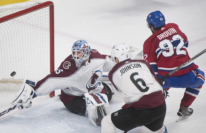 1a78c565f9d Montreal center Jonathan Drouin (92) scores against Colorado Avalanche goaltender  Jonathan Bernier as Erik