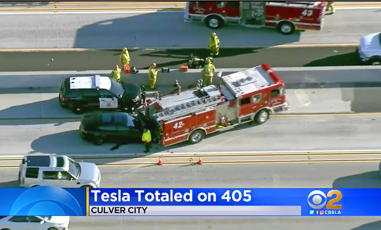 Tesla Automated Car Truck Crash