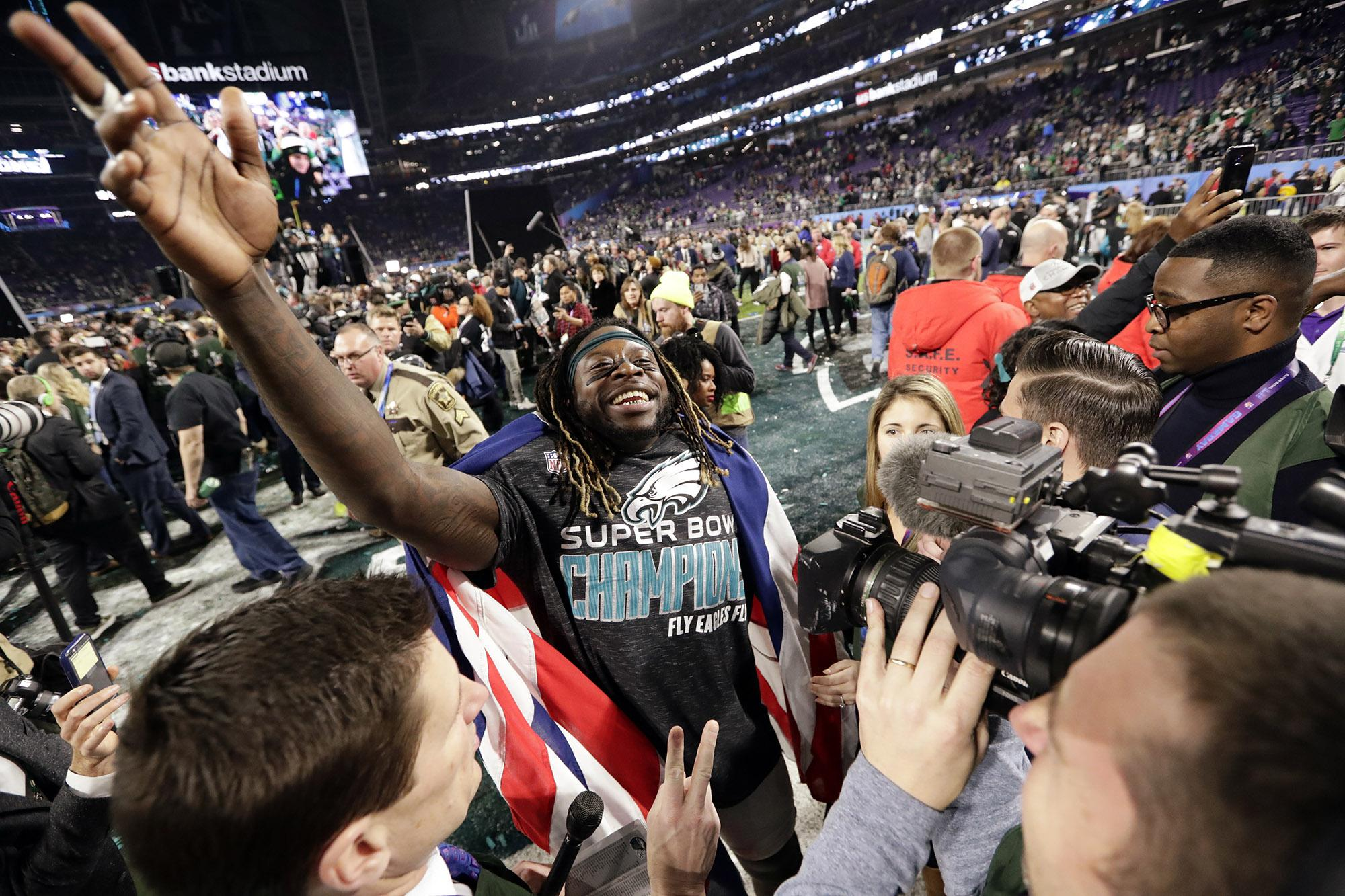 3fde28adf Philadelphia Eagles running back Jay Ajayi celebrates after winning the NFL Super  Bowl 52 football game