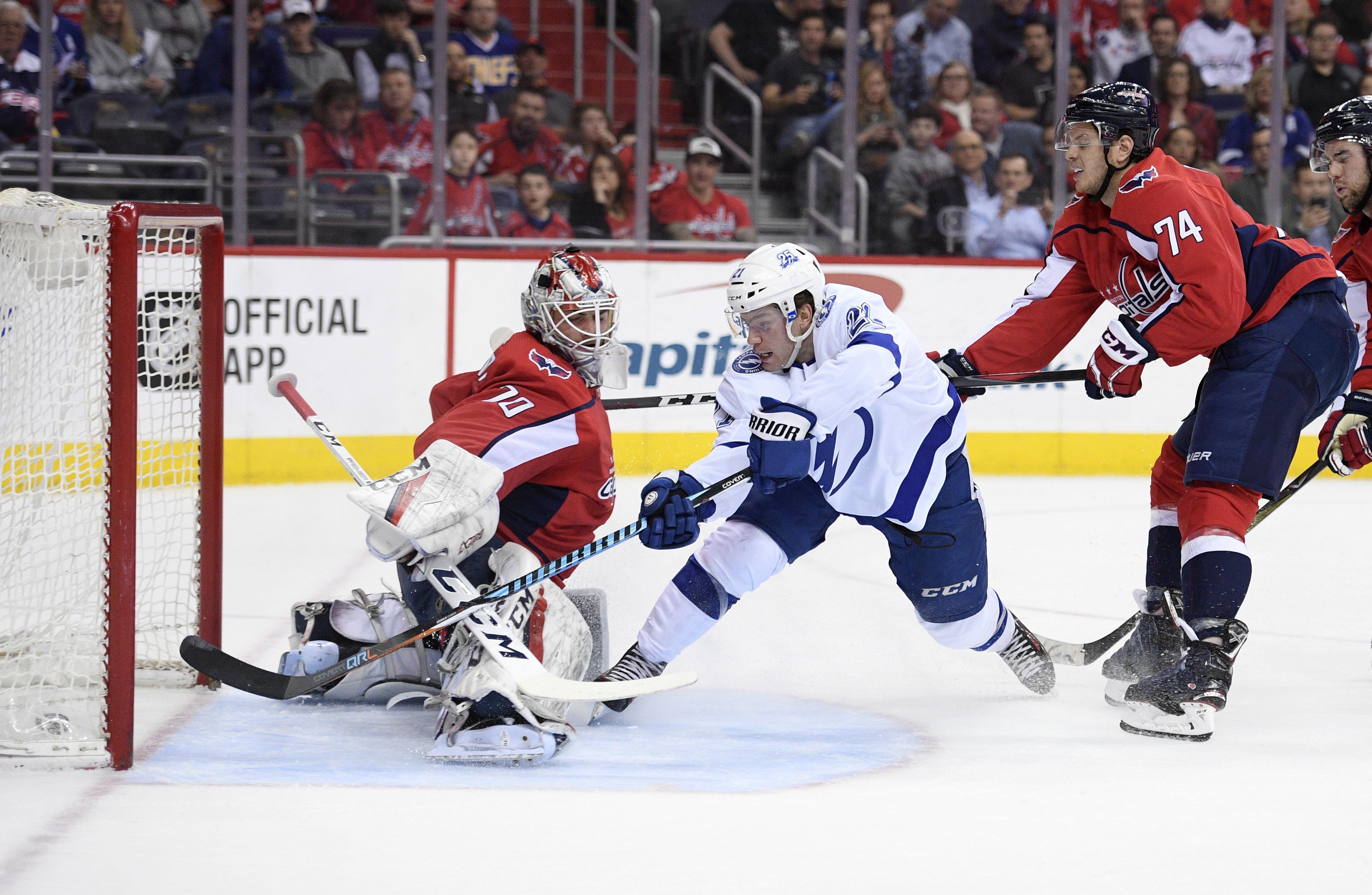 d1a438f07aa Tampa Bay Lightning center Brayden Point (21) scores a goal past Washington  Capitals goaltender