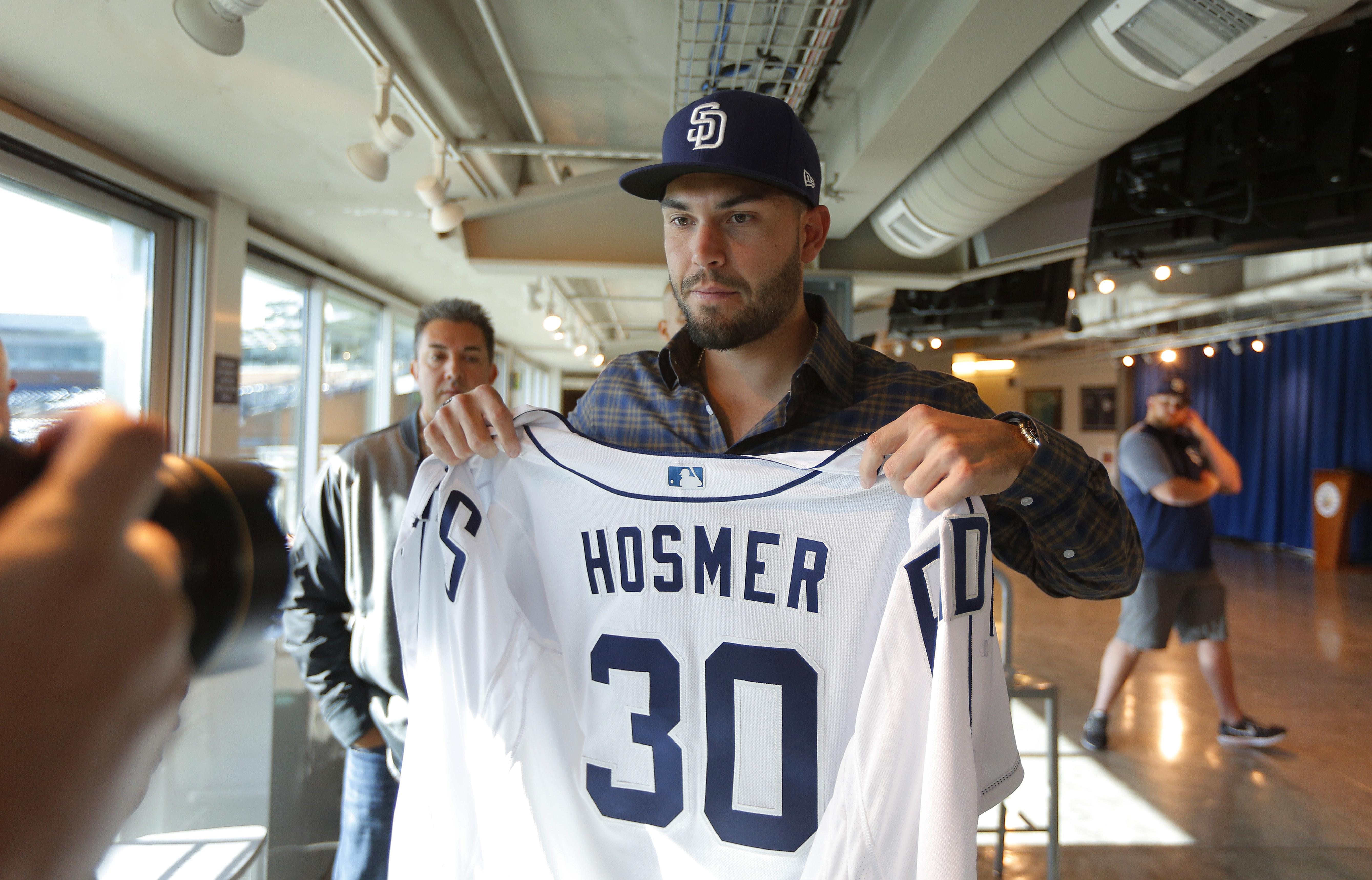 sale retailer d2f9d 96631 Eric Hosmer joins Padres, wears number of late teammate ...