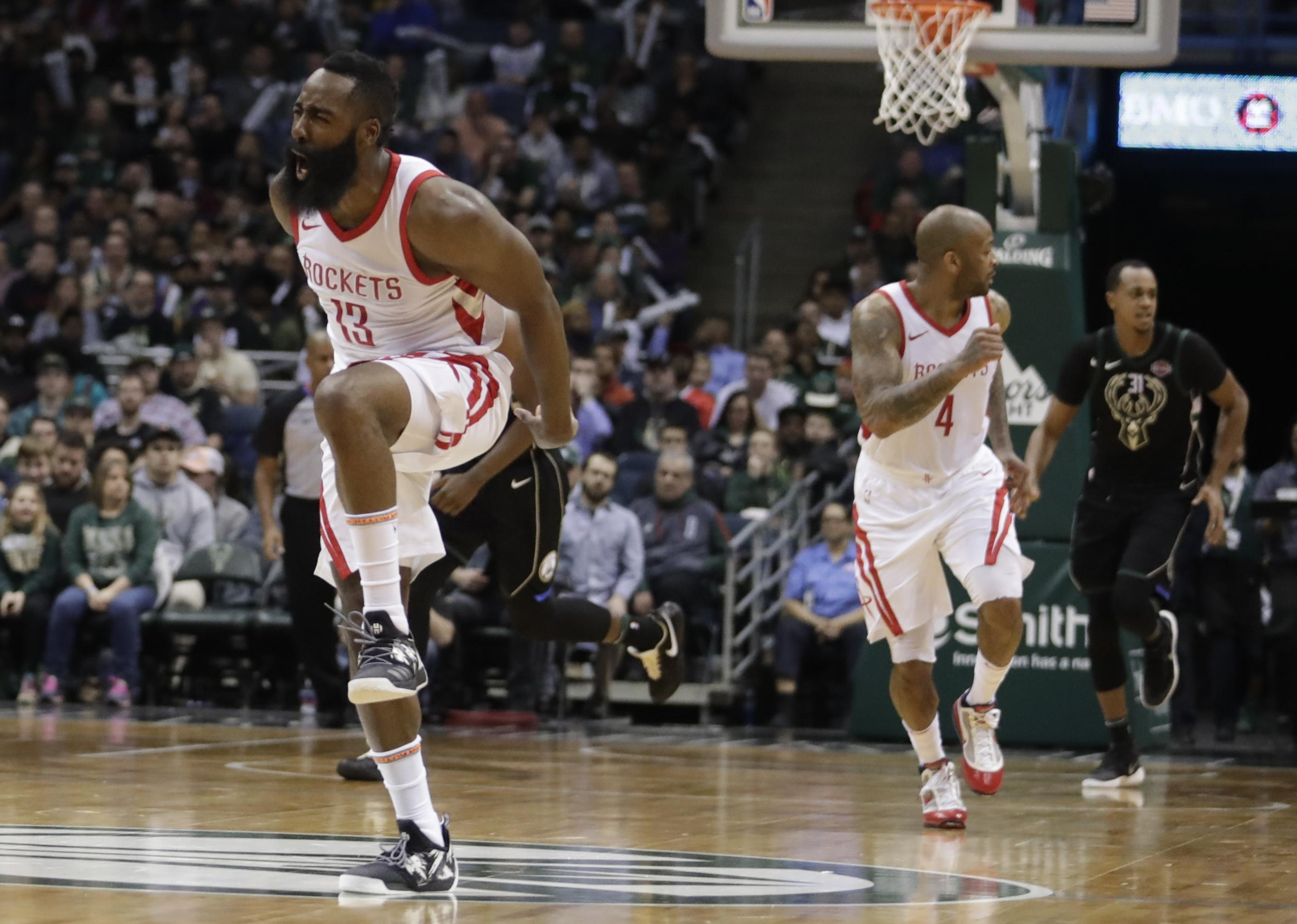 Houston Rockets James Harden Reacts During The Second Half Of An NBA Basketball Game Against
