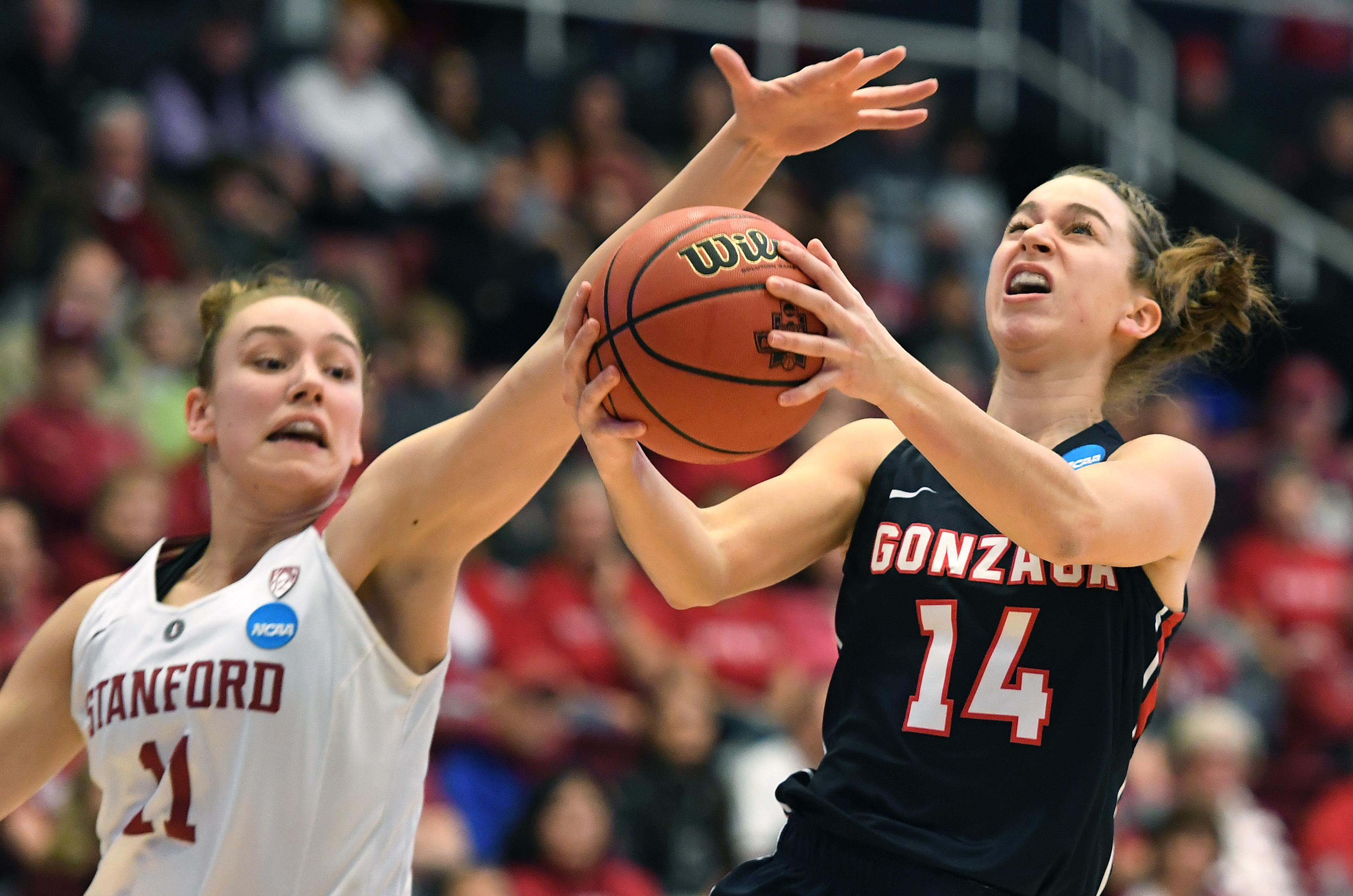 innovative design 23387 421f9 Gonzaga guard Emma Stach (14) heads to the basket as Stanford forward  Alanna Smith