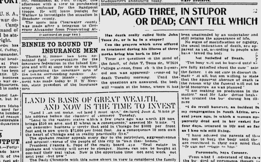 100 years ago in Spokane: Family postpones funeral of boy on the ...