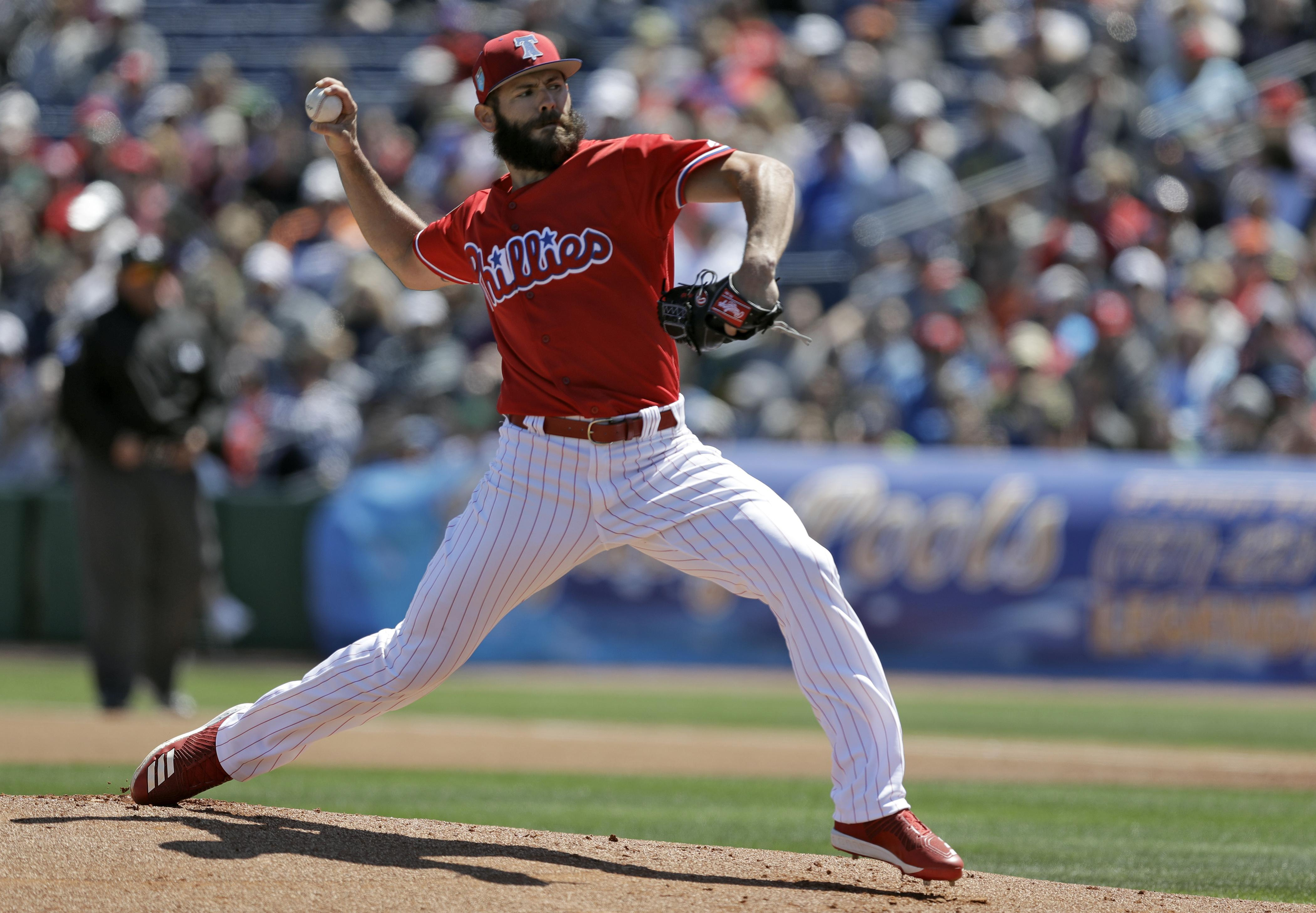 eddeb1a1345 Philadelphia Phillies  Jake Arrieta pitches to the Detroit Tigers during  the first inning of a
