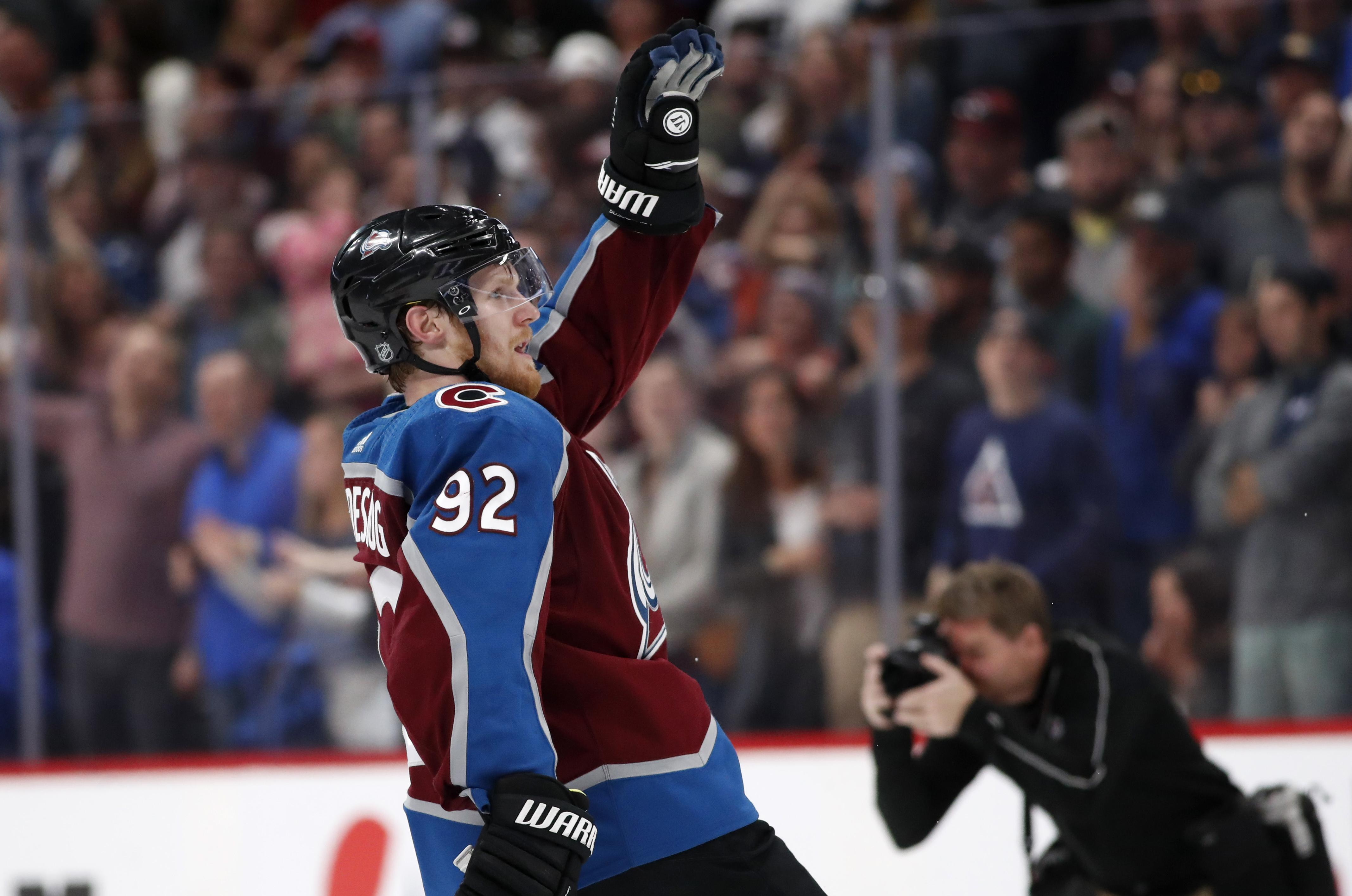 Colorado Avalanche left wing Gabriel Landeskog celebrates after scoring the  winning goal against the Vegas Golden 8e11dce49