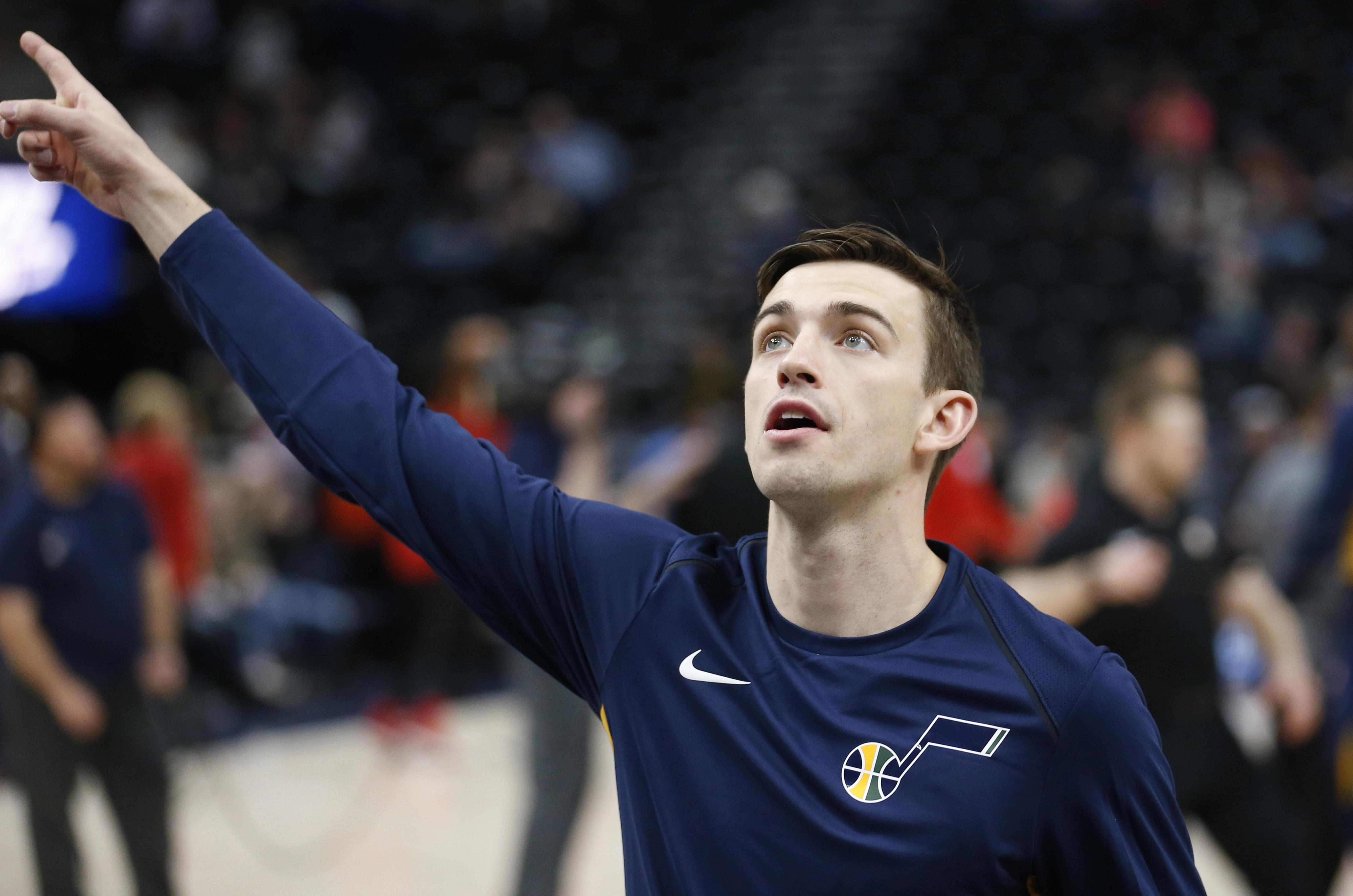63ec12a4ef Utah Jazz guard David Stockton looks on during practice before the start of  Tuesday's game against