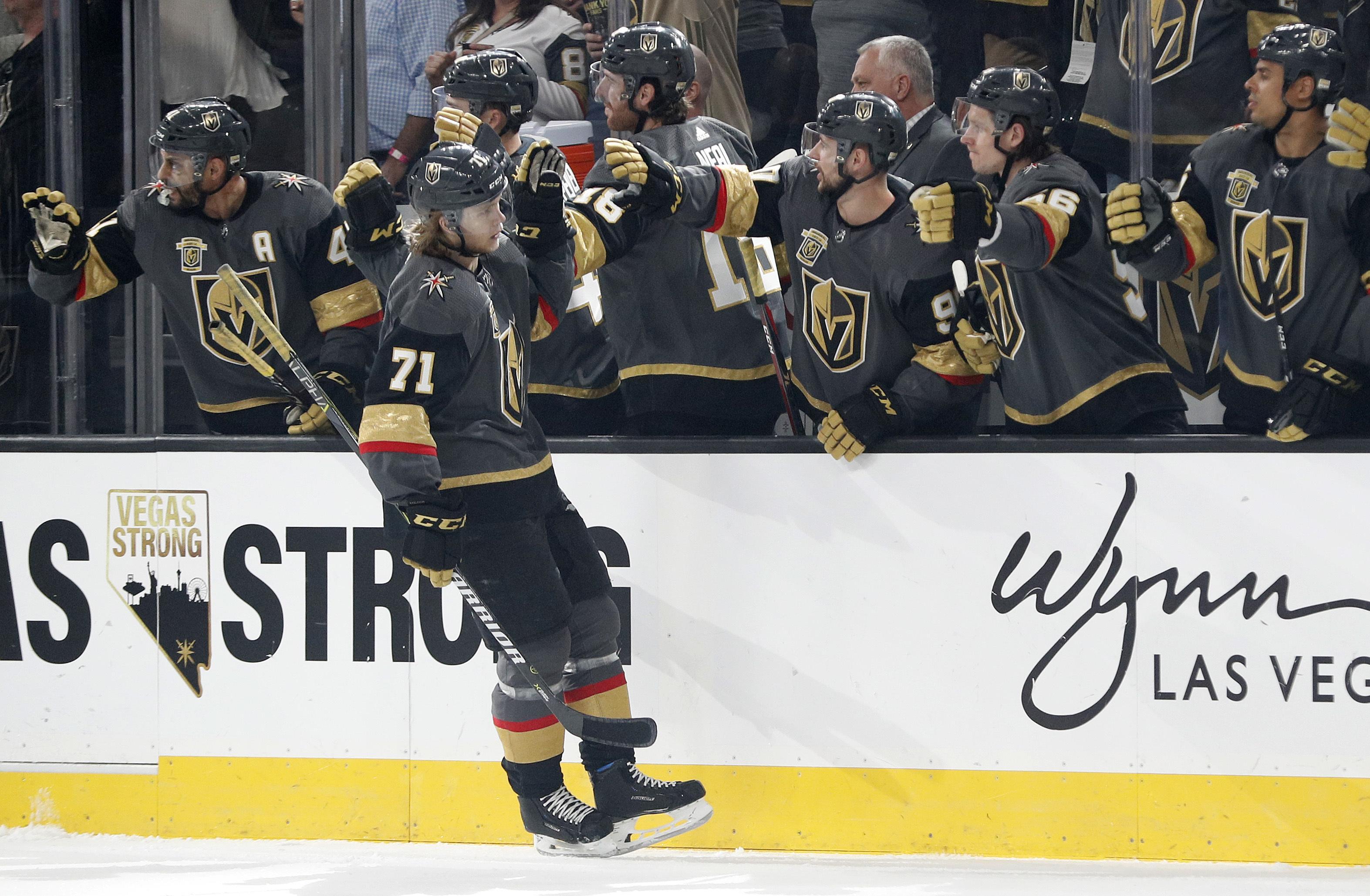 499aa73960b Vegas Golden Knights center William Karlsson (71) celebrates after scoring  against the St.