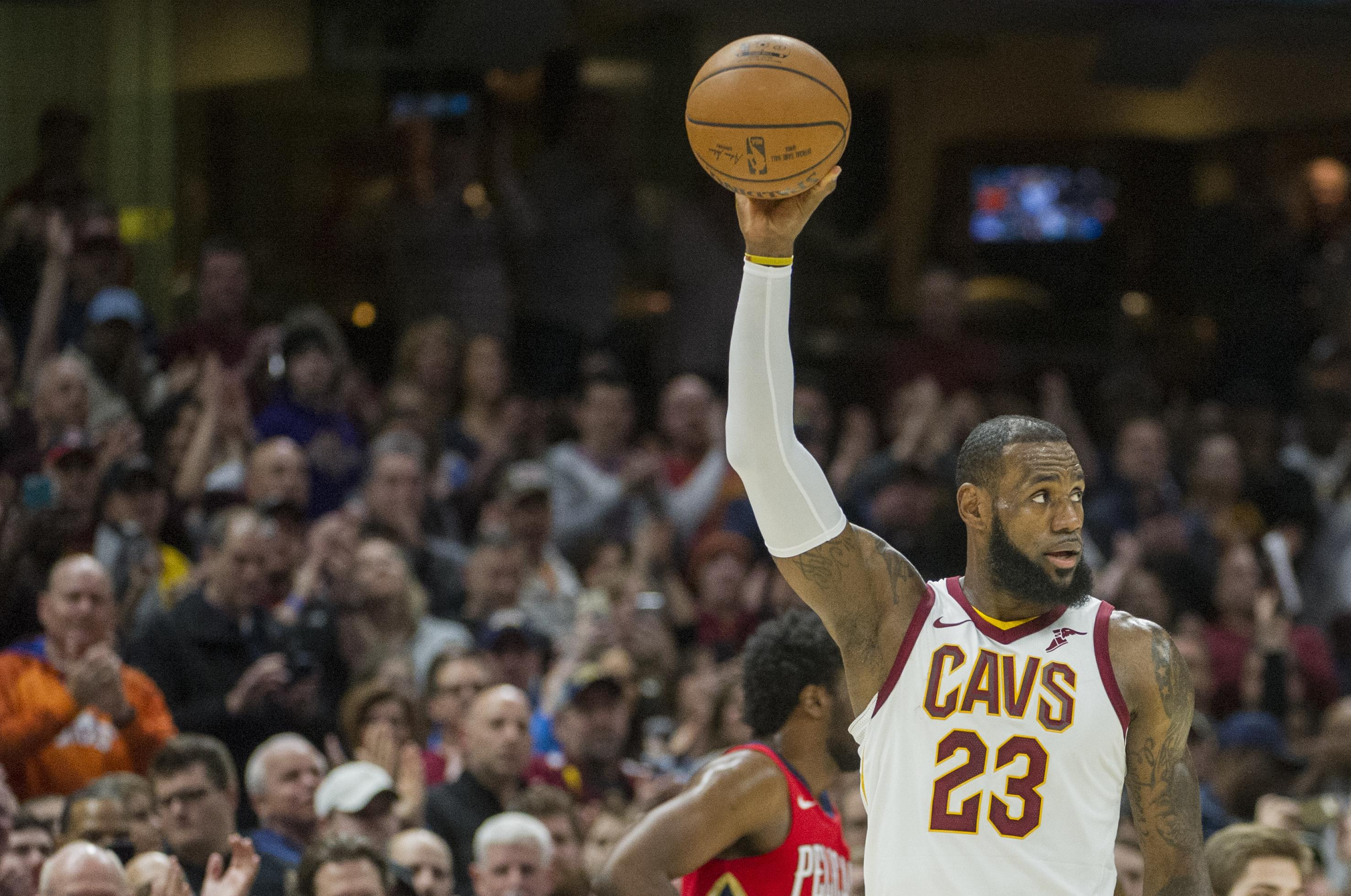 6fe746dc8c2 Cleveland Cavaliers  LeBron James celebrates during the first half of an NBA  basketball game against