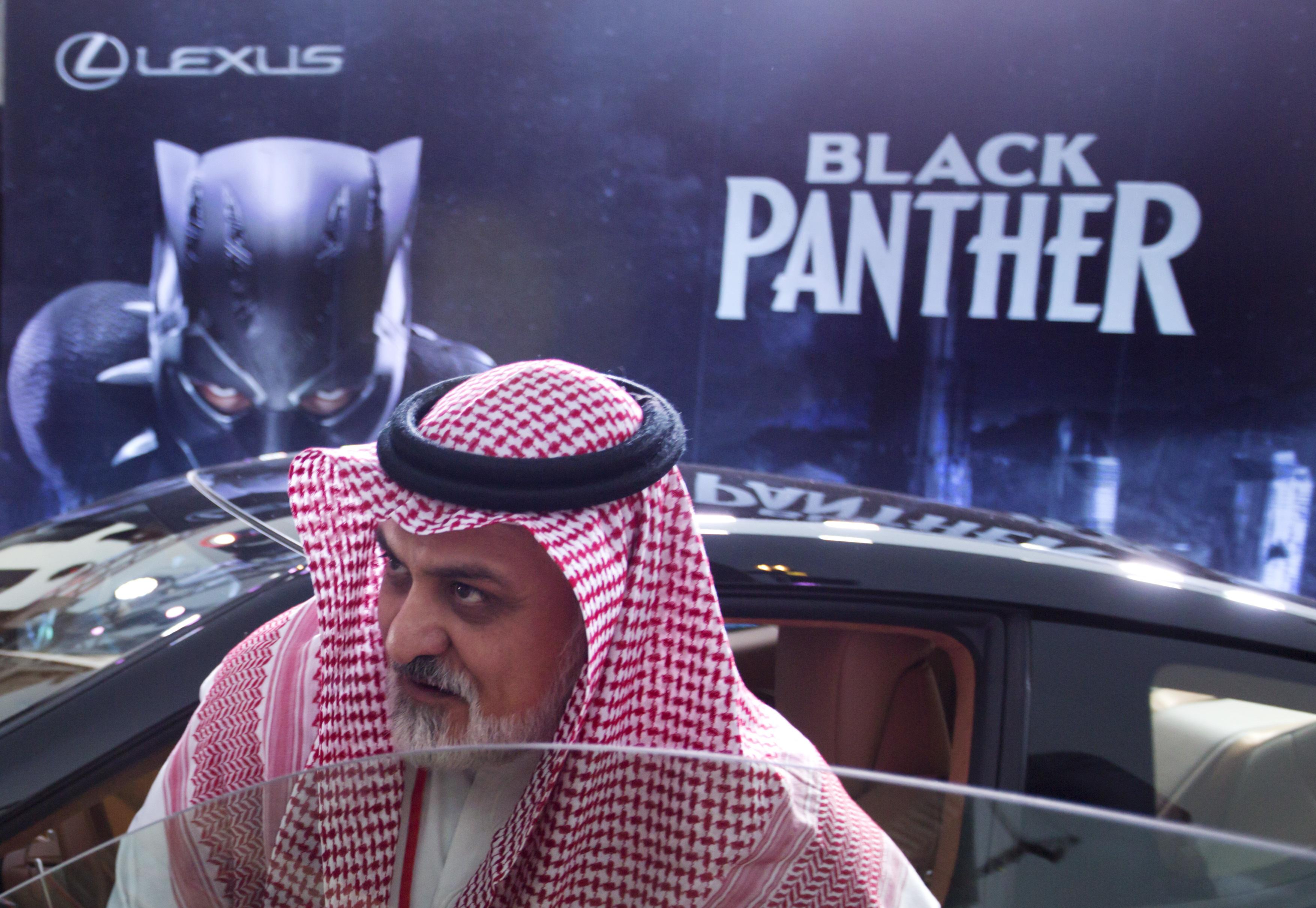 Saudi arabia screens black panther to mark cinema opening the a visitor checks out a lexus car similar to a one used in the black malvernweather Gallery