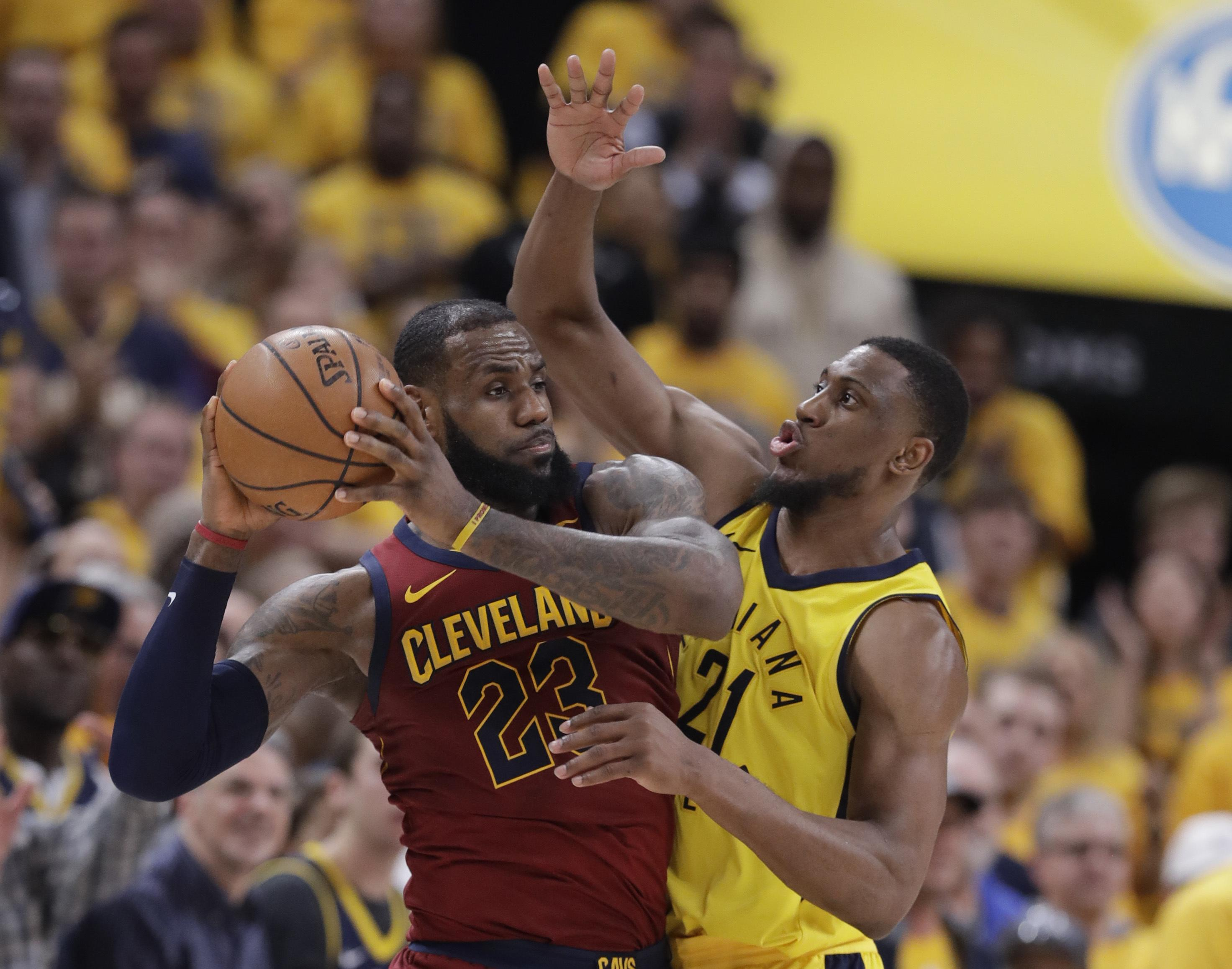 6717cd8ce53 In this April 20, 2018 file photo, Cleveland Cavaliers' LeBron James (23