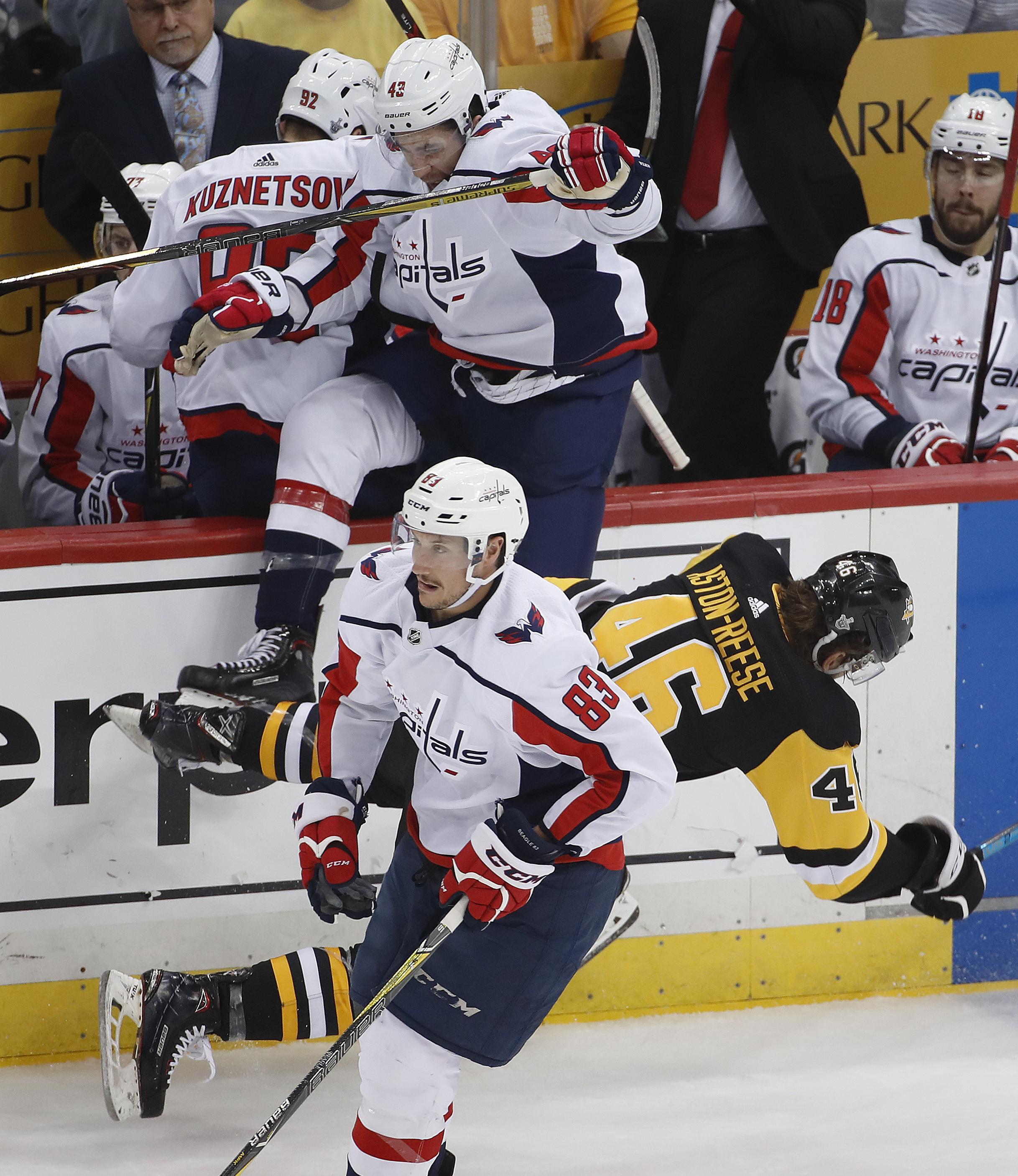 c9e9063e22e Washington Capitals  Tom Wilson (43) collides with Pittsburgh Penguins   Zach Aston-