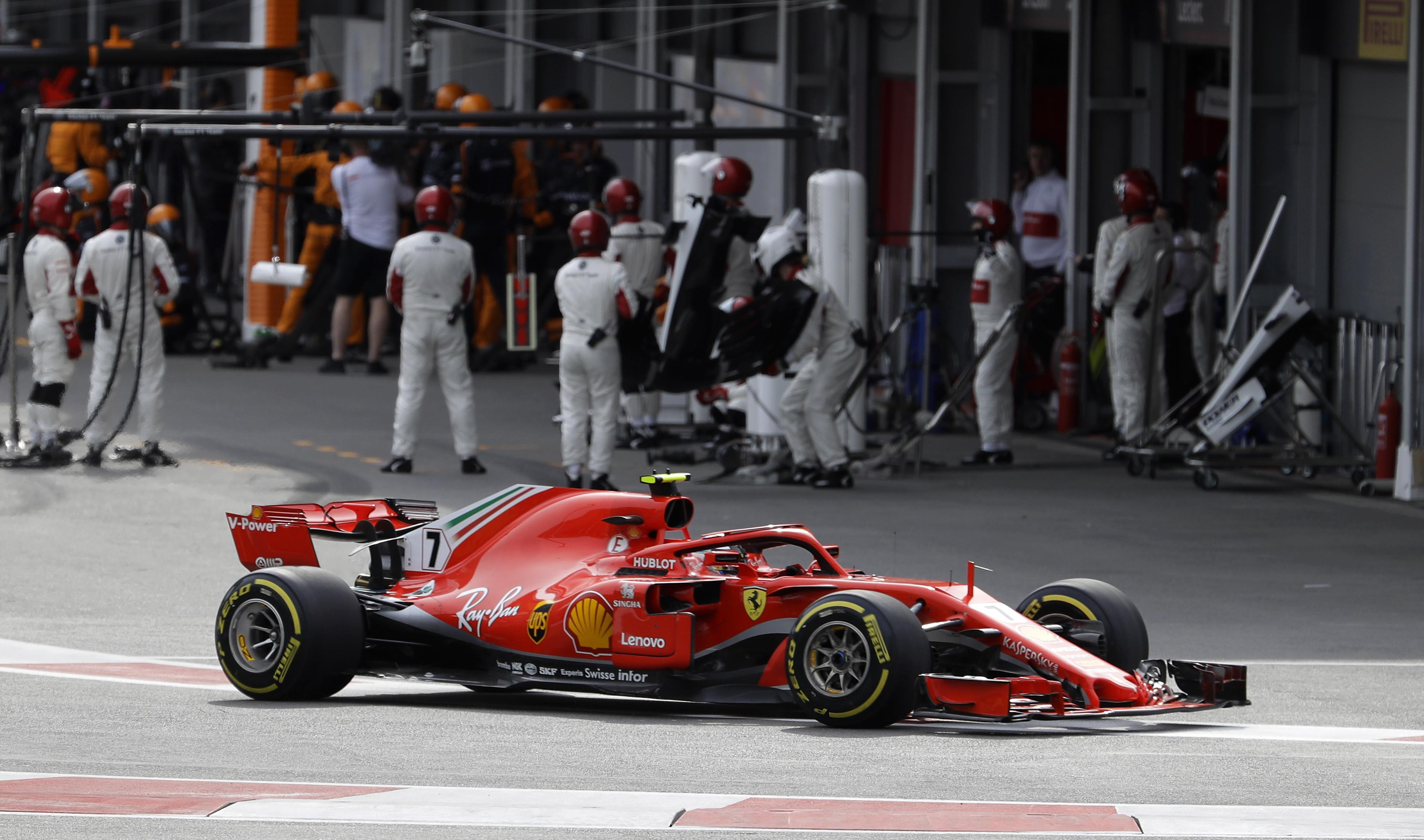 Opens In A Series Circuit Red Bull Talks With Honda As Its F1 Engine Supplier Swx Ferrari Driver Kimi Raikkonen Of Finland Leaves The Pits During Azerbaijan Formula One
