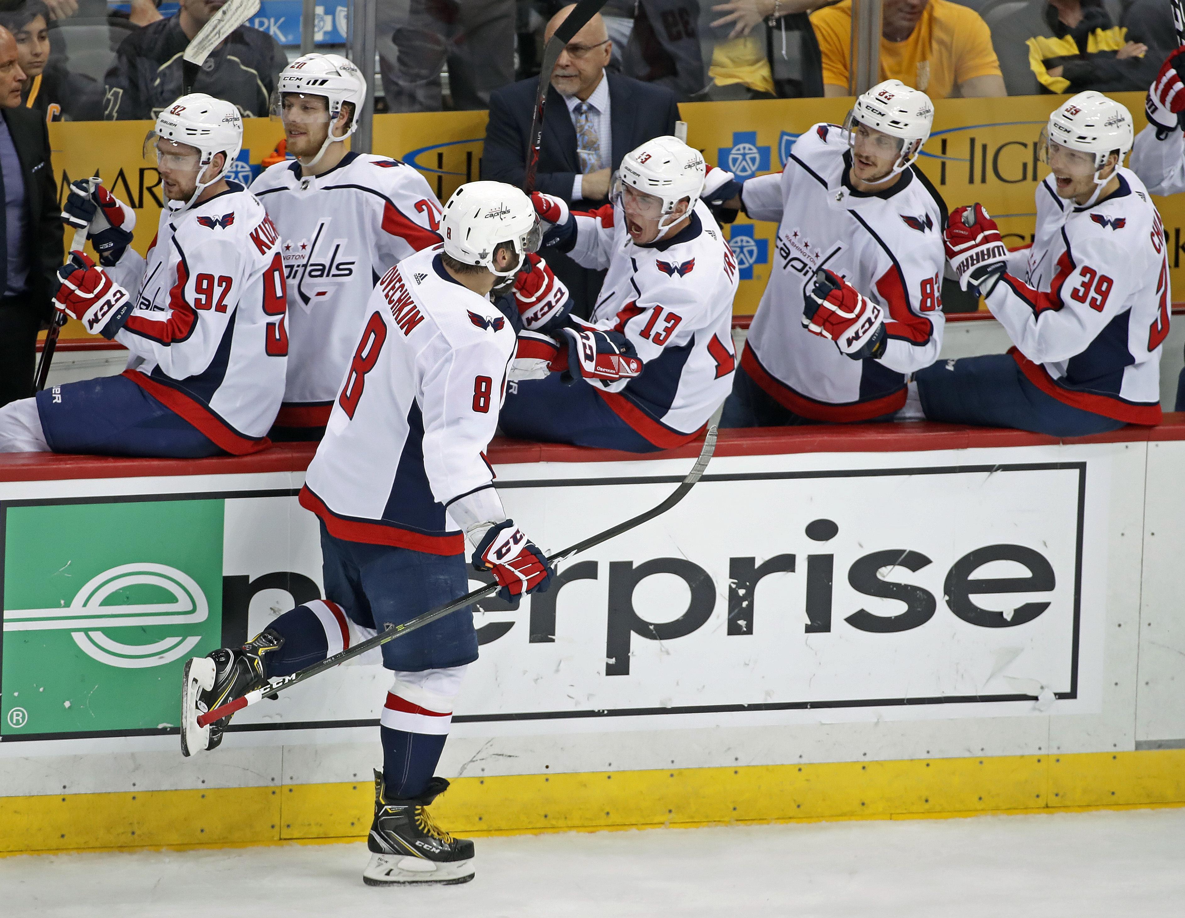 Washington Capitals  Alex Ovechkin celebrates his go-ahead goal as he  returns to the ed8ce3dbac6f