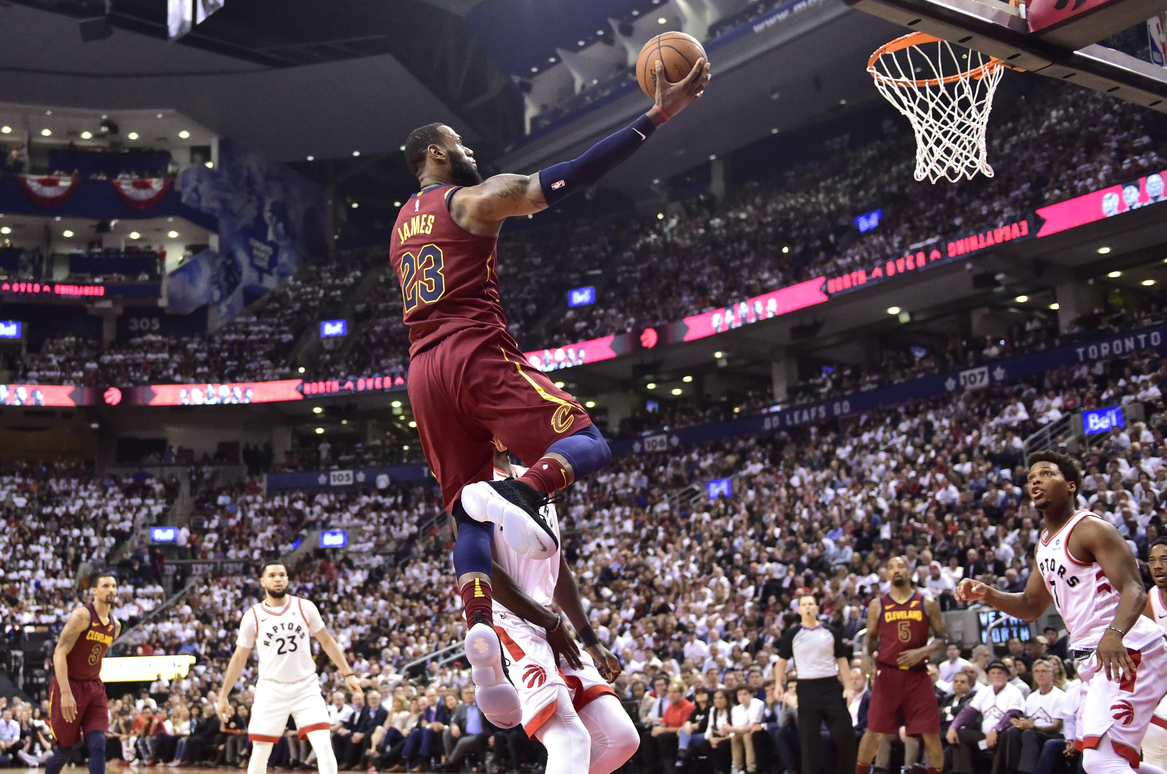 3e565a4cac1f Cleveland Cavaliers forward LeBron James (23) shoots against the Toronto  Raptors during the second