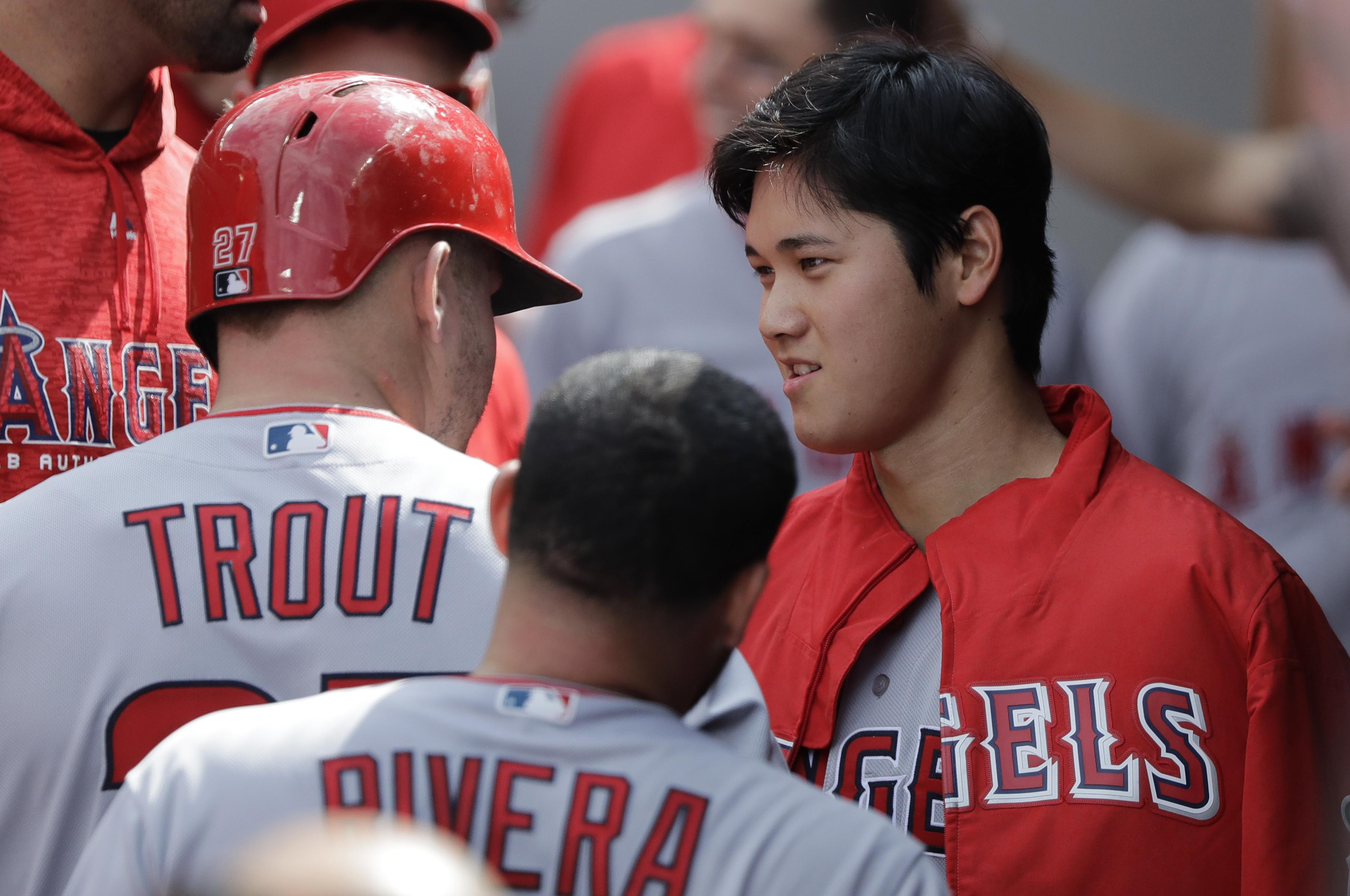 400eeb86f Los Angeles Angels starting pitcher Shohei Ohtani, right, allowed two runs  and Mike Trout
