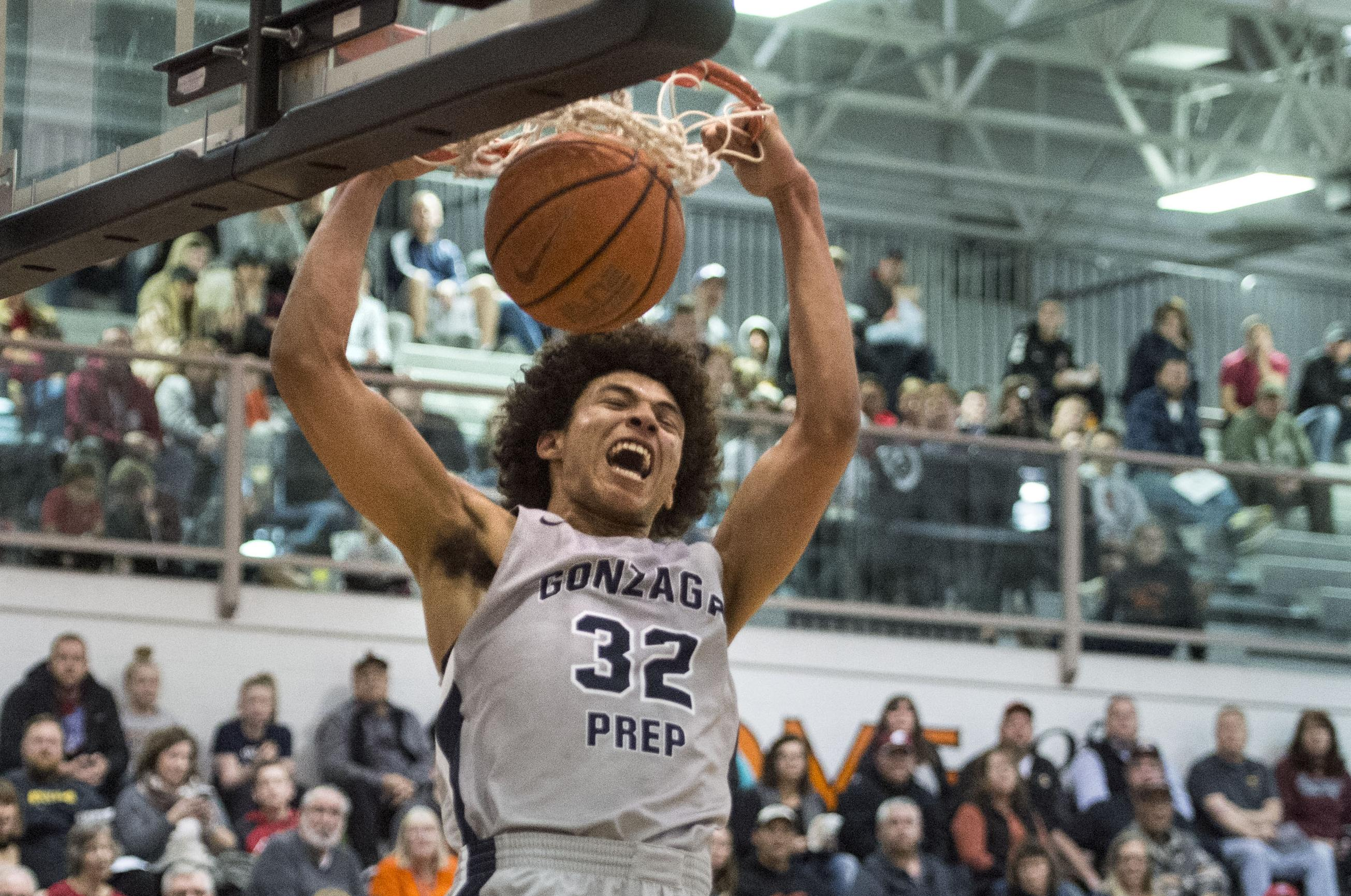 Anton Watson of Gonzaga Prep slams against host Post Falls in nonleague  play on Dec.