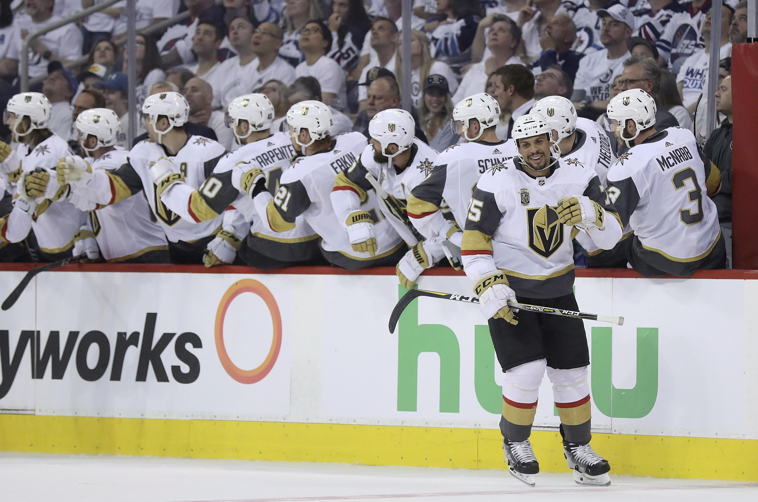 aef7354d74d The Vegas Golden Knights celebrate after Ryan Reaves (75) scored during  second period NHL