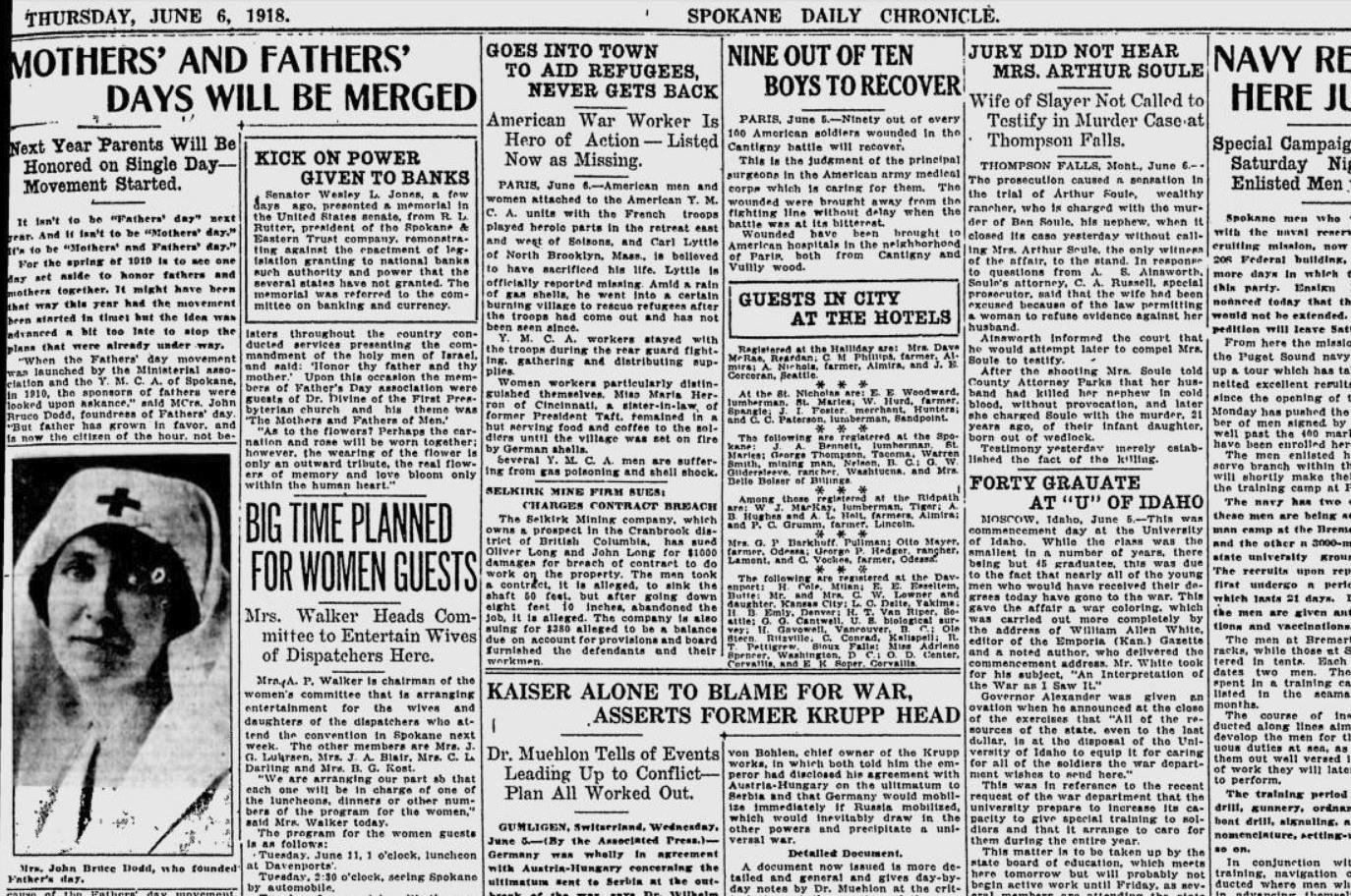 100 years ago in Spokane: Sonora Smart Dodd backs plan to ...