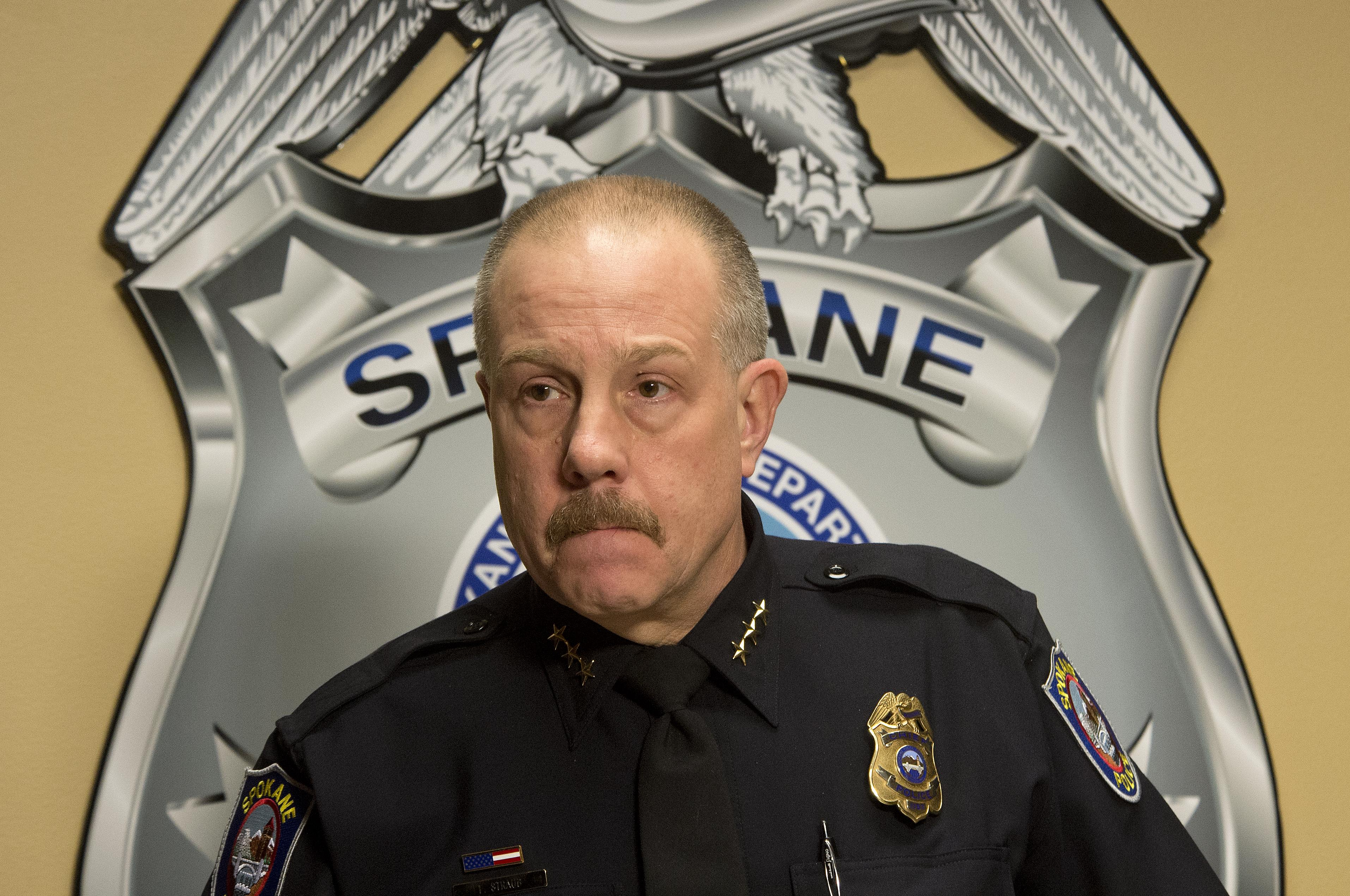 FILE – Spokane Police Chief Frank Straub answers questions about the arrest  of murder suspect Timothy