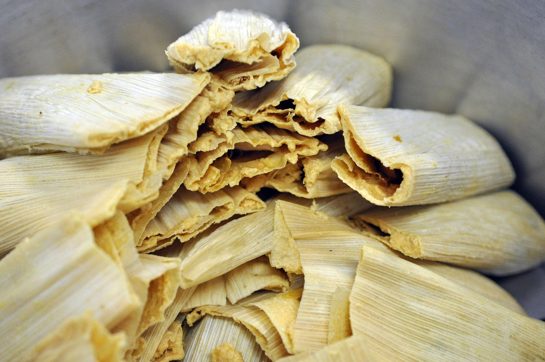 Tamales Are Stacked In A Pot Ready For Steaming At De Leon Foods