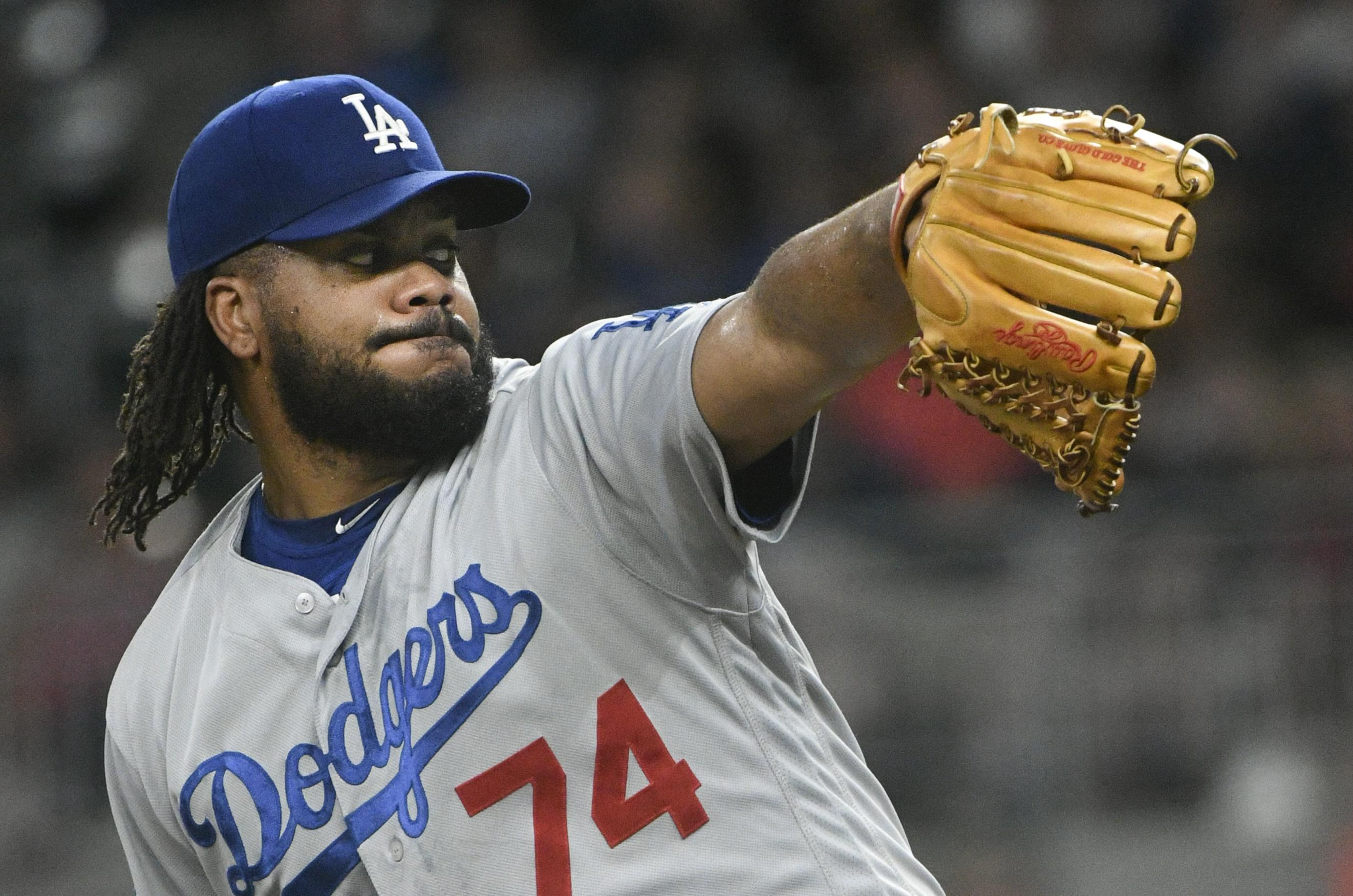 c0b5c0745 Los Angeles Dodgers relief pitcher Kenley Jansen pitches against the  Atlanta Braves during the ninth inning