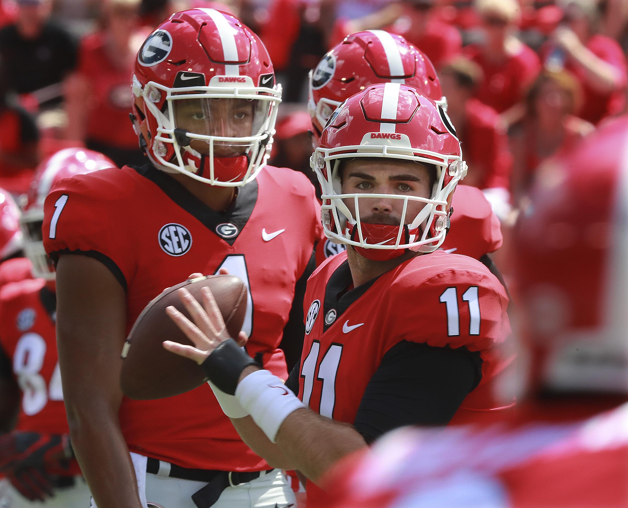 8970479d0c9 No plan' on how No. 3 Georgia will use QBs vs. South Carolina | The ...