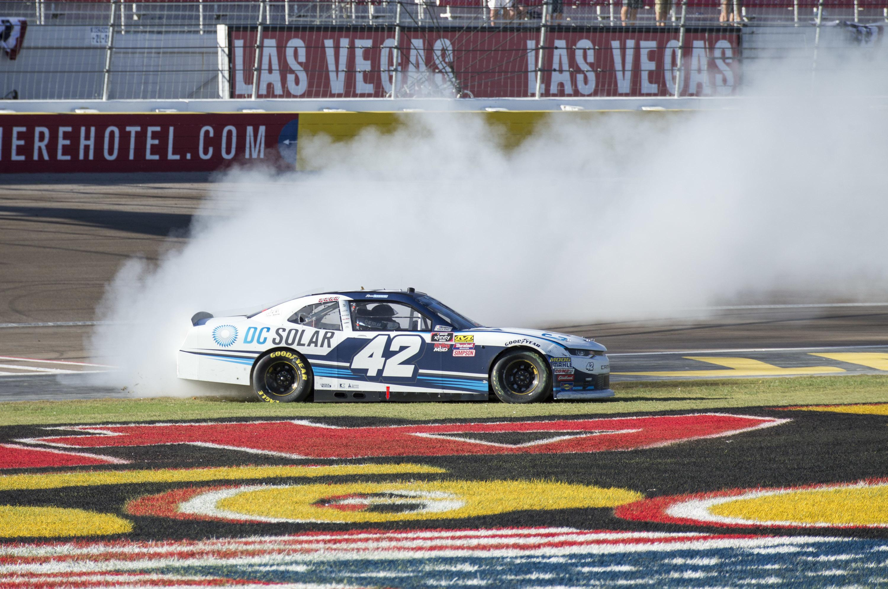 Ross Chastain earns 1st Xfinity win, holding off Justin
