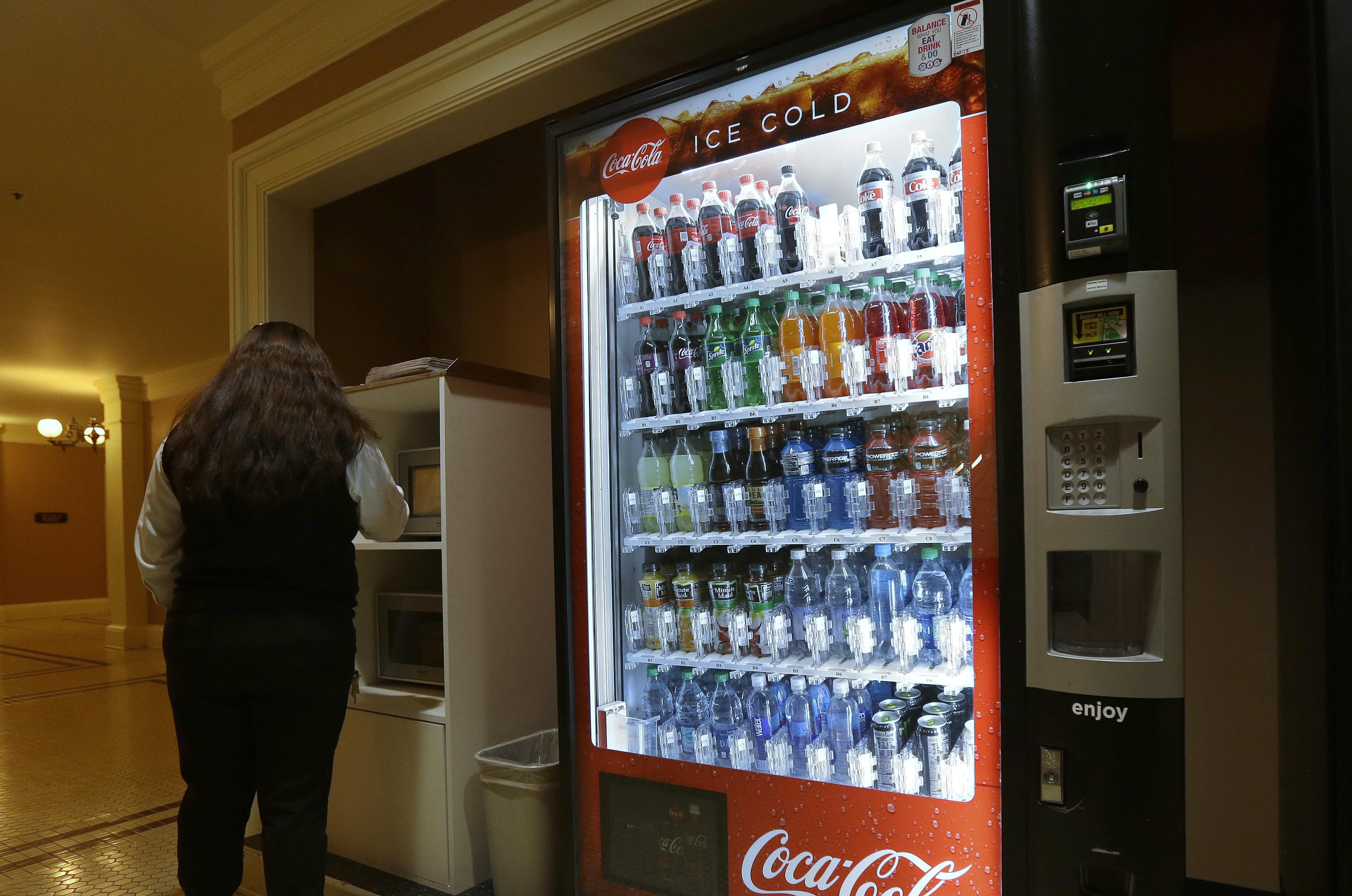 A Coca-Cola vending machine sits in the basement of the state Capitol in  Sacramento