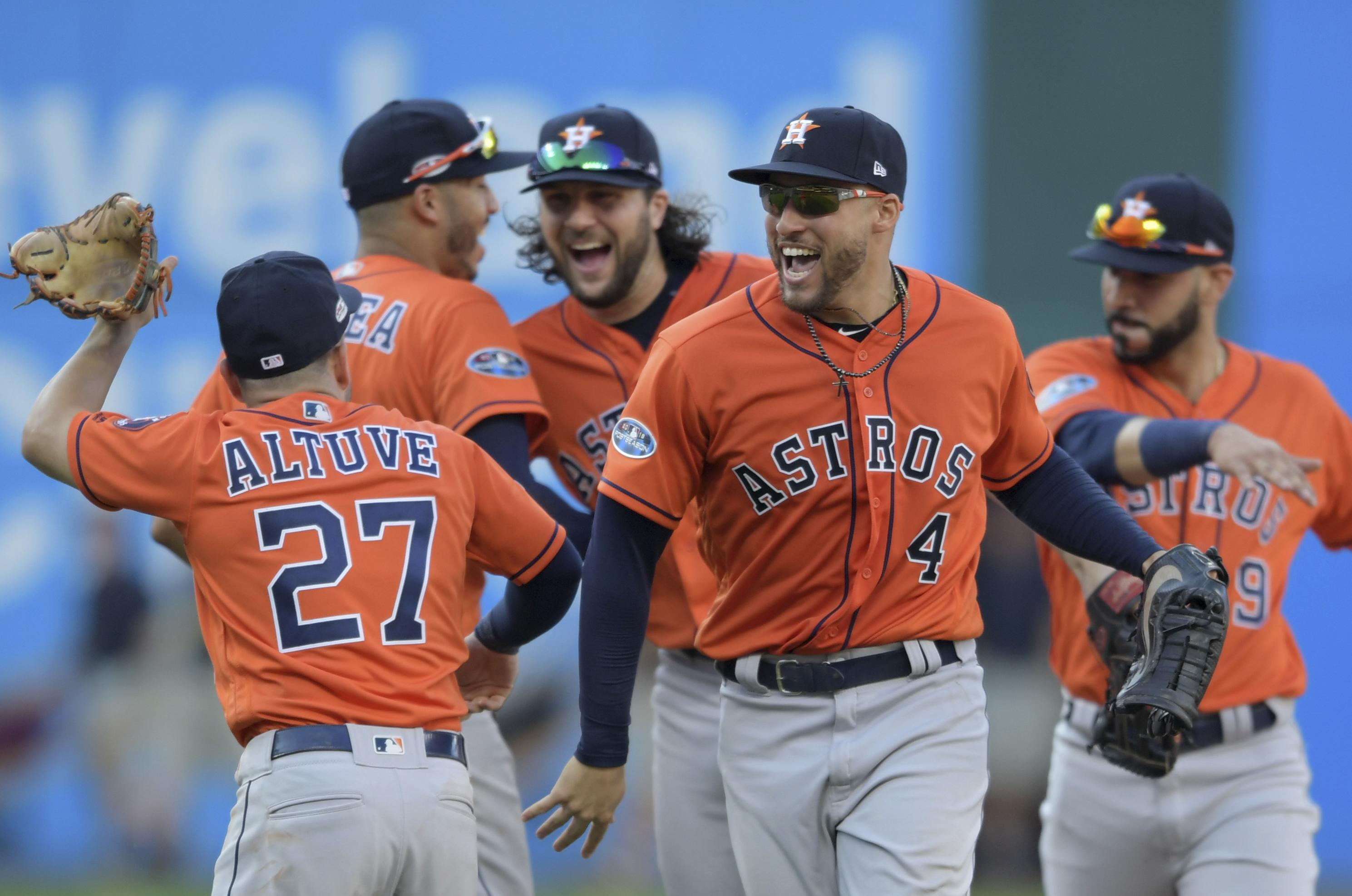 828efec99eb Houston Astros  George Springer (4) and teammates celebrate after defeating  the Cleveland Indians